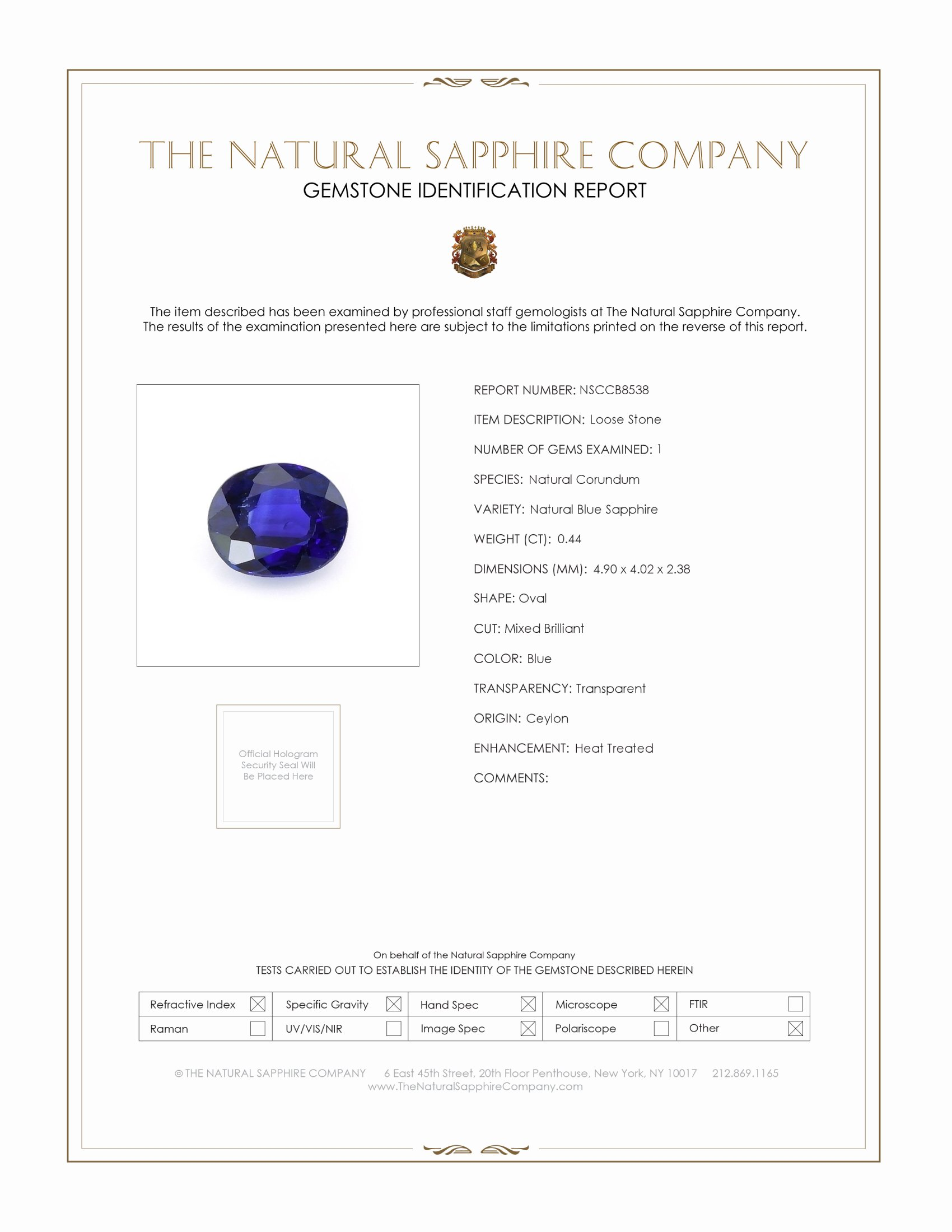 Natural Blue Sapphire B8538 Certification