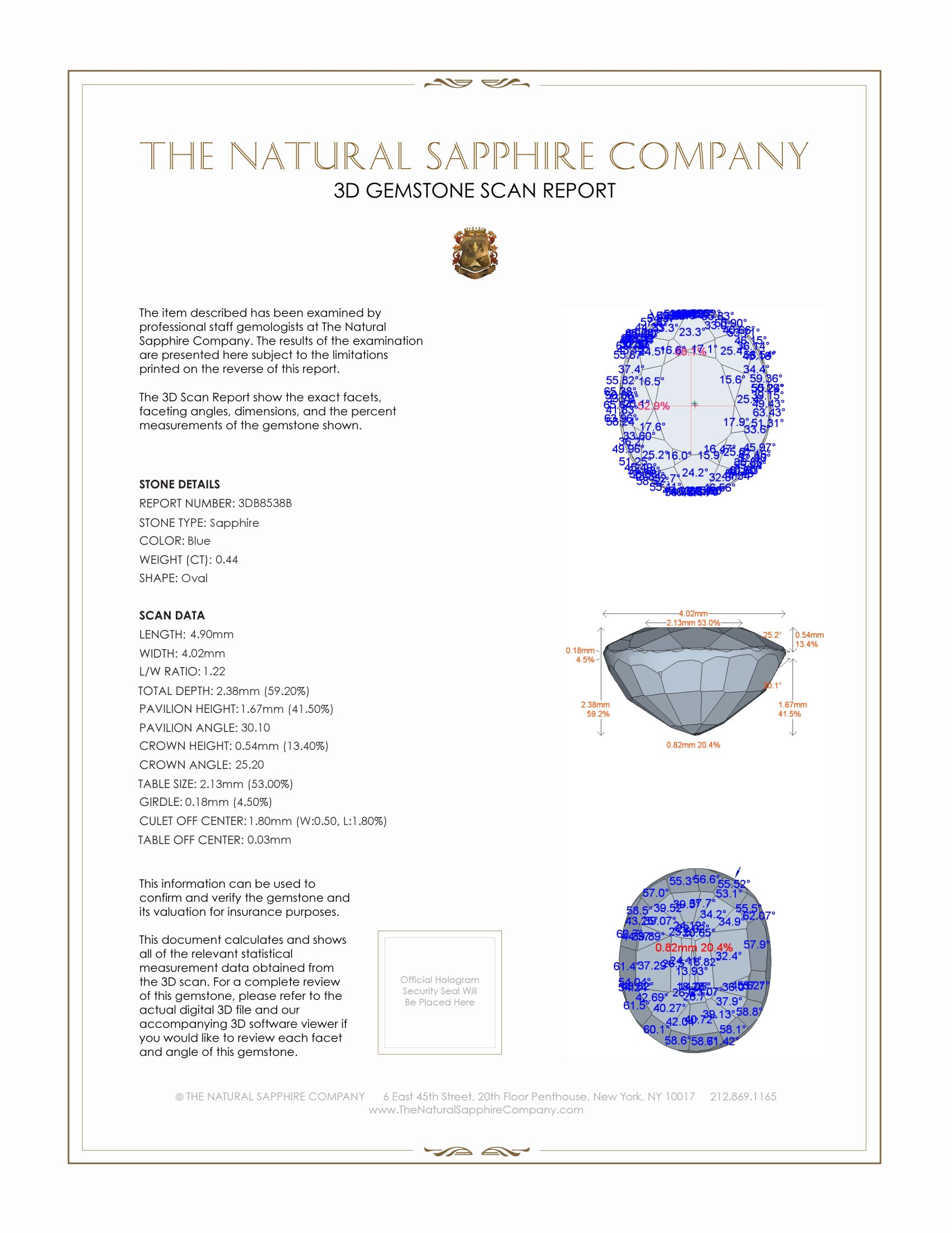 Natural Blue Sapphire B8538 Certification 2
