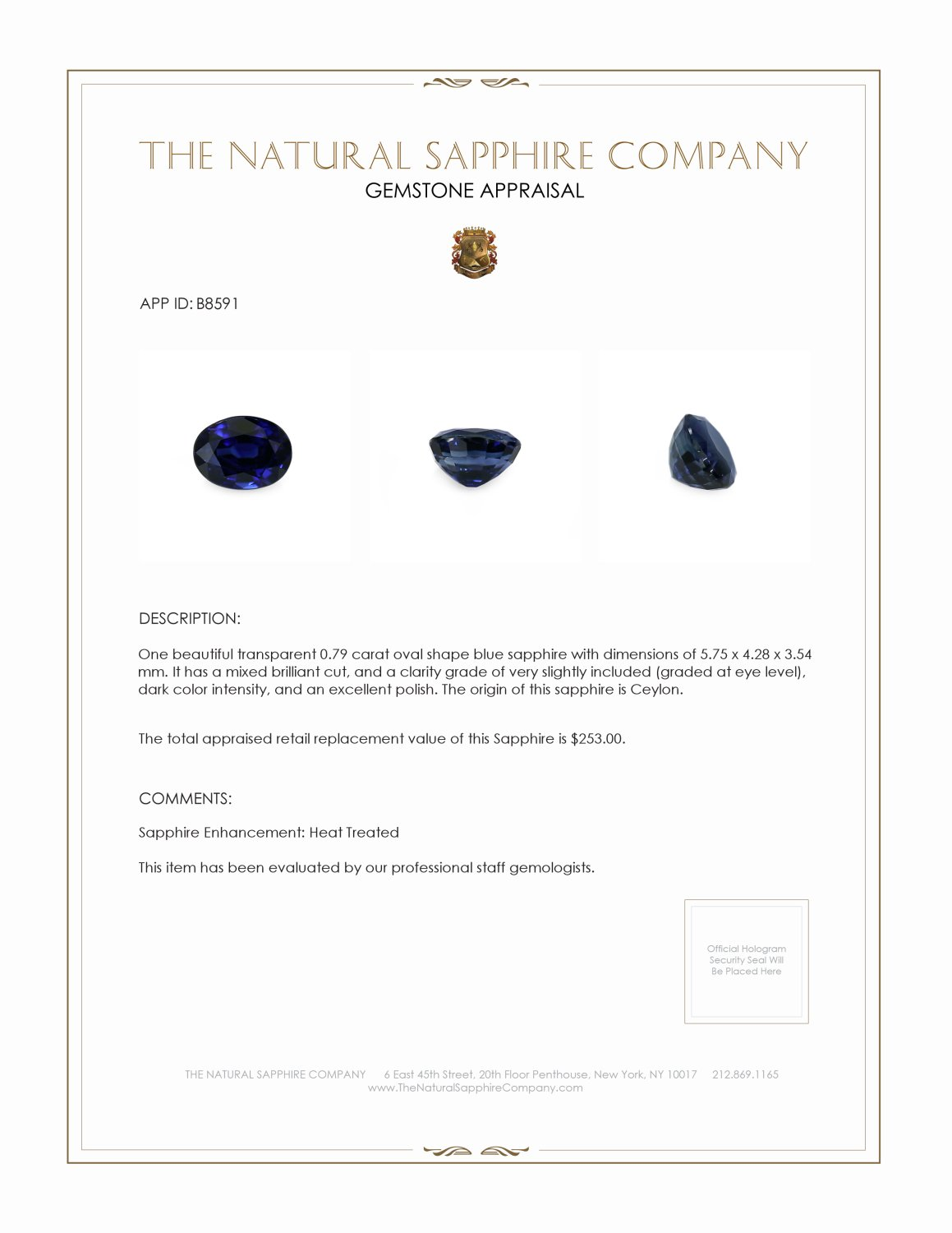 Natural Blue Sapphire B8591 Certification 3
