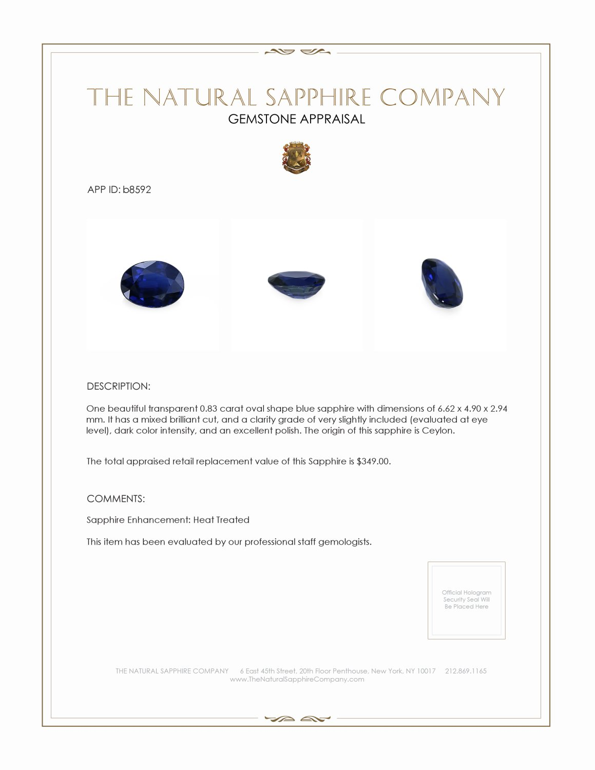 Natural Blue Sapphire B8592 Certification