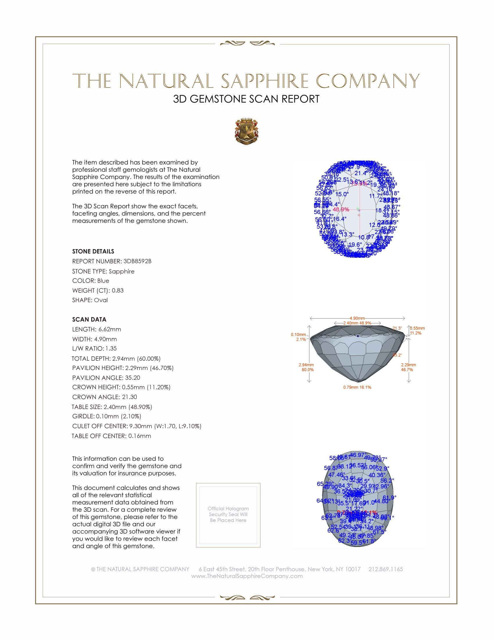 Natural Blue Sapphire B8592 Certification 2