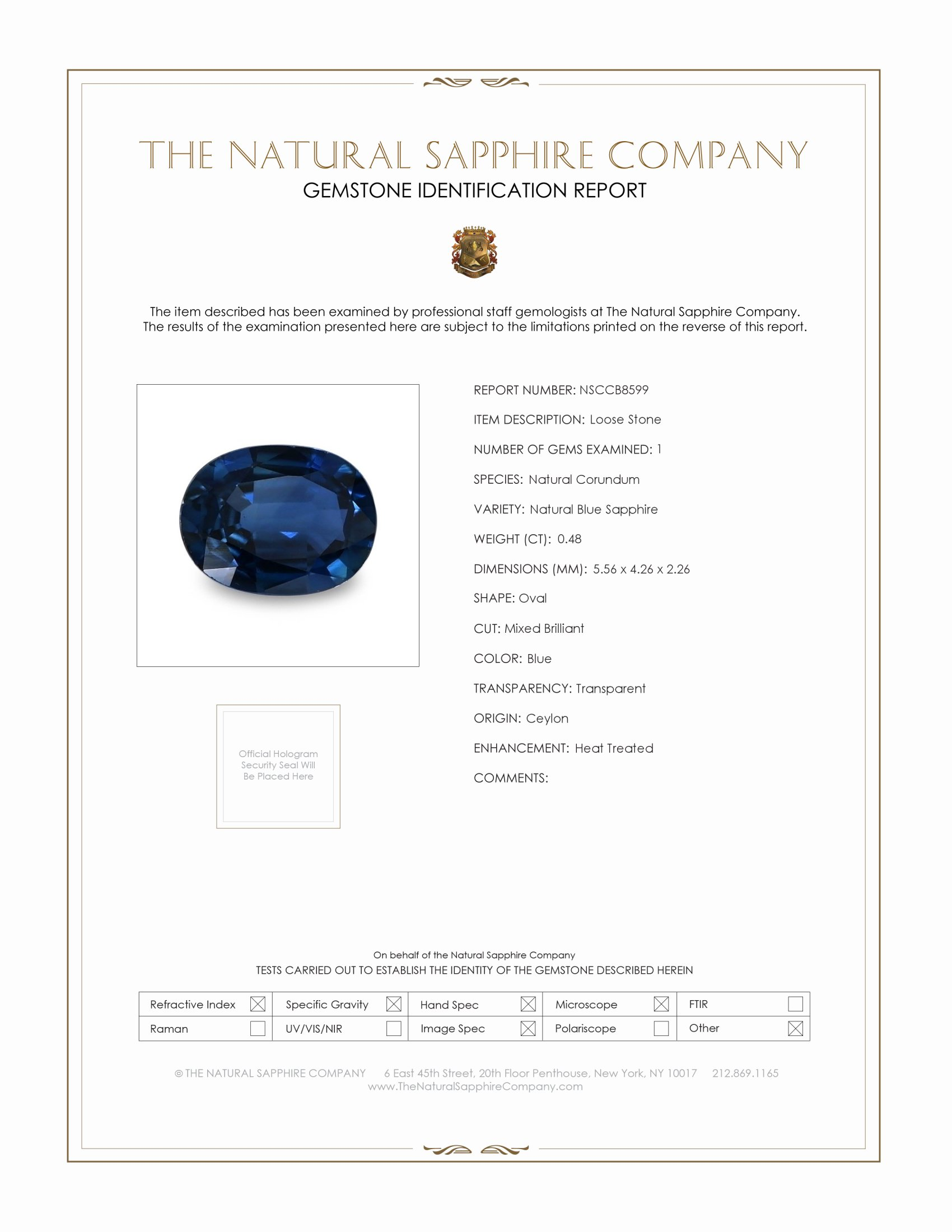 Natural Blue Sapphire B8599 Certification