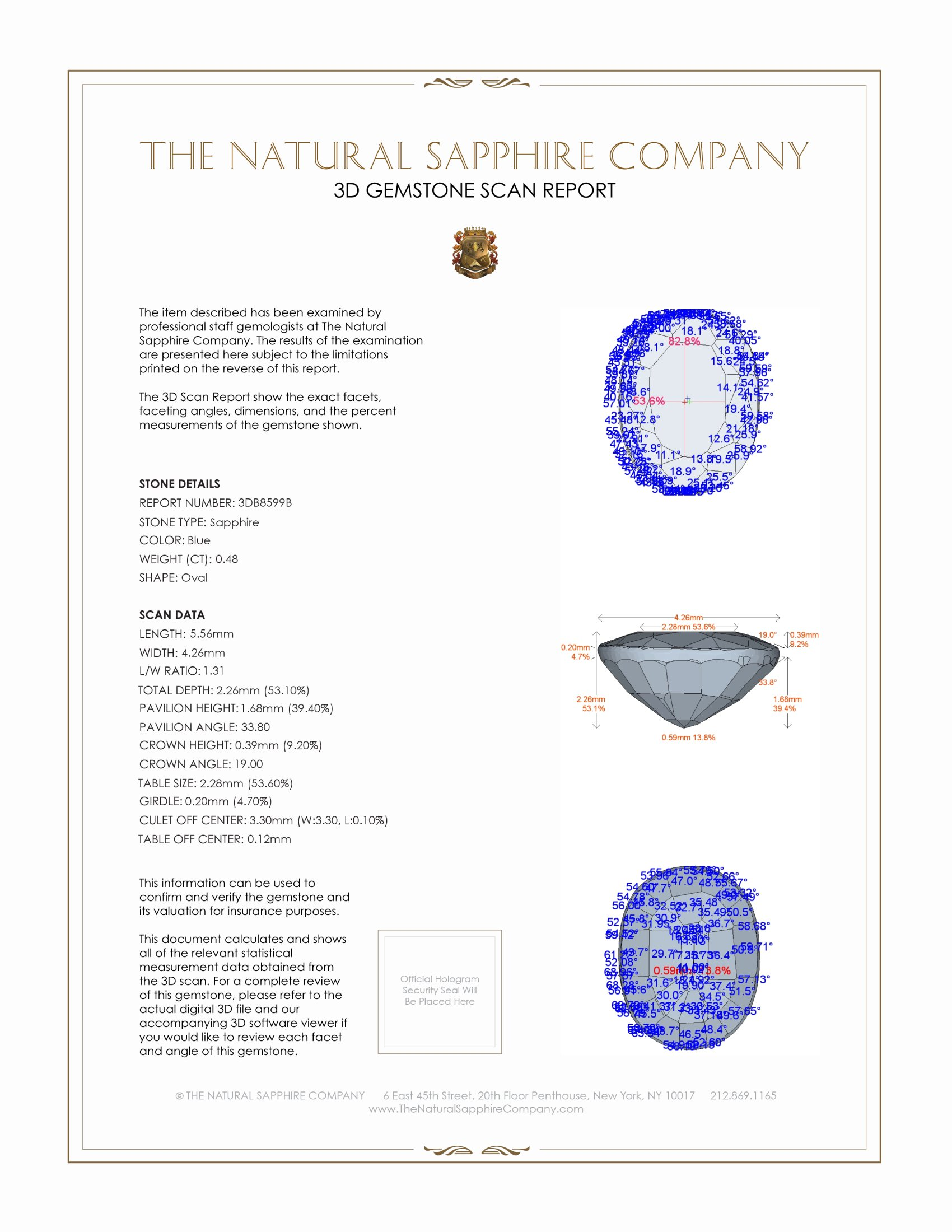 Natural Blue Sapphire B8599 Certification 2