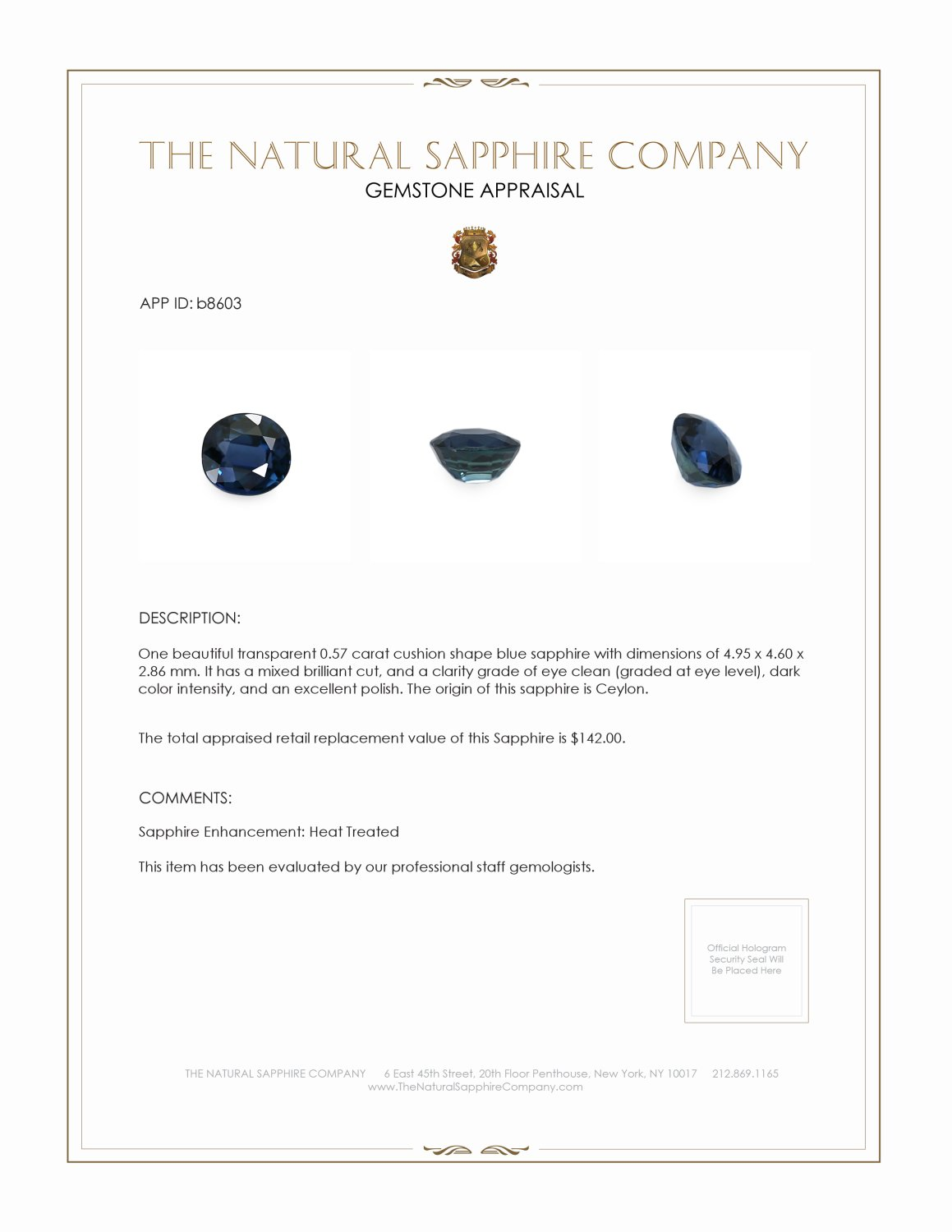 Natural Blue Sapphire B8603 Certification 3