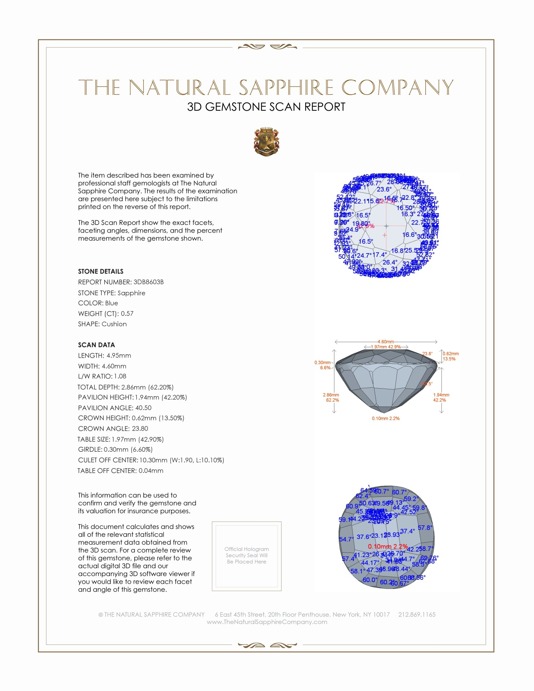 Natural Blue Sapphire B8603 Certification 2