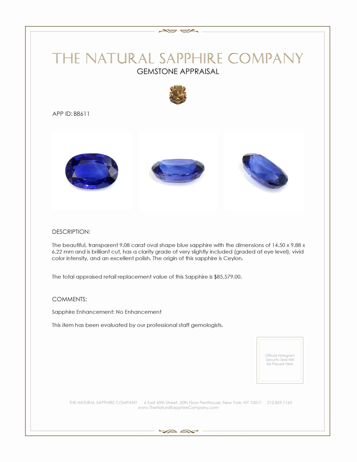 Natural Untreated Blue Sapphire B8611 Certification 4