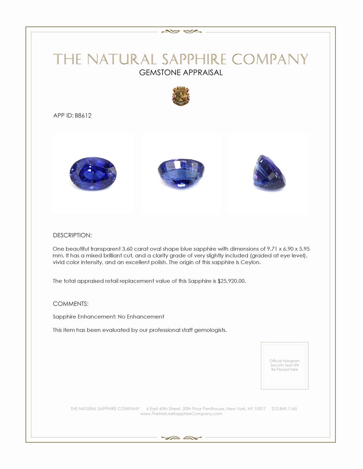 Natural Untreated Blue Sapphire B8612 Certification 4