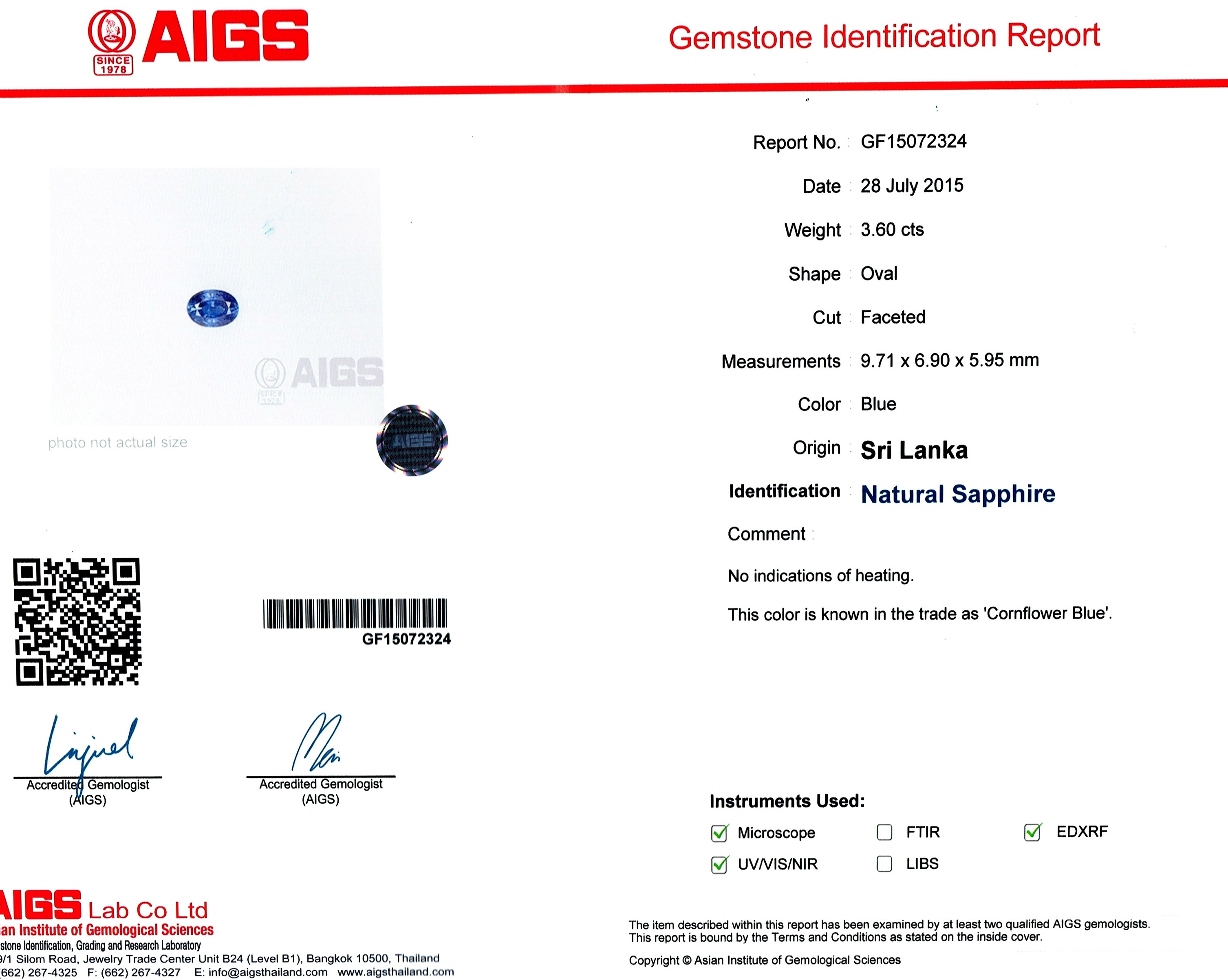 Natural Untreated Blue Sapphire B8612 Certification 3