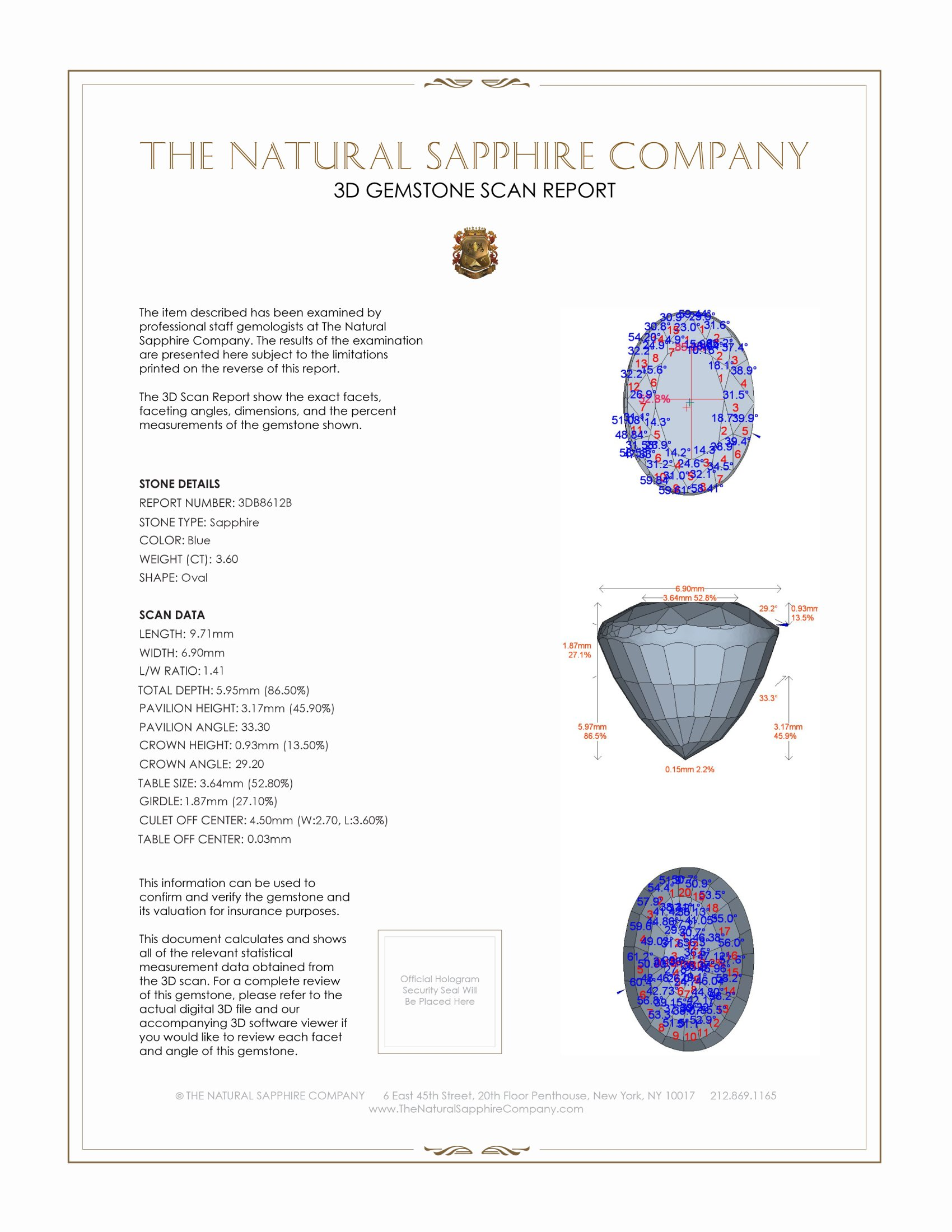 Natural Untreated Blue Sapphire B8612 Certification 2