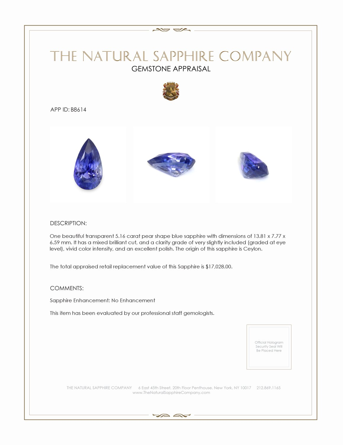 Natural Untreated Blue Sapphire B8614 Certification