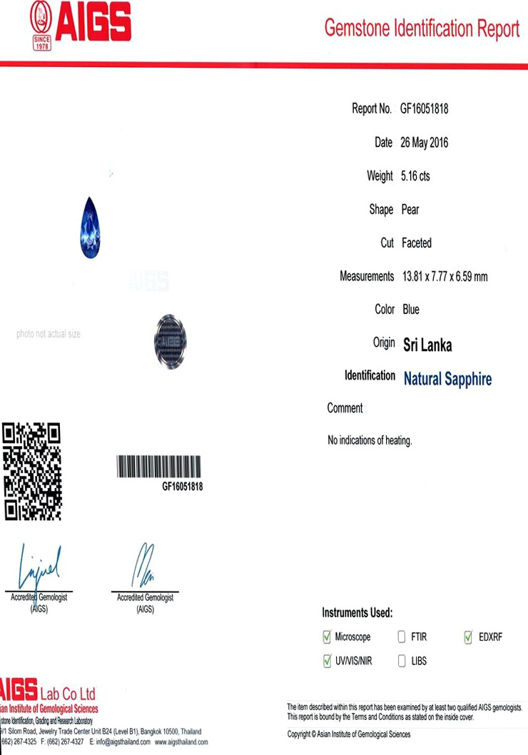 Natural Untreated Blue Sapphire B8614 Certification 3