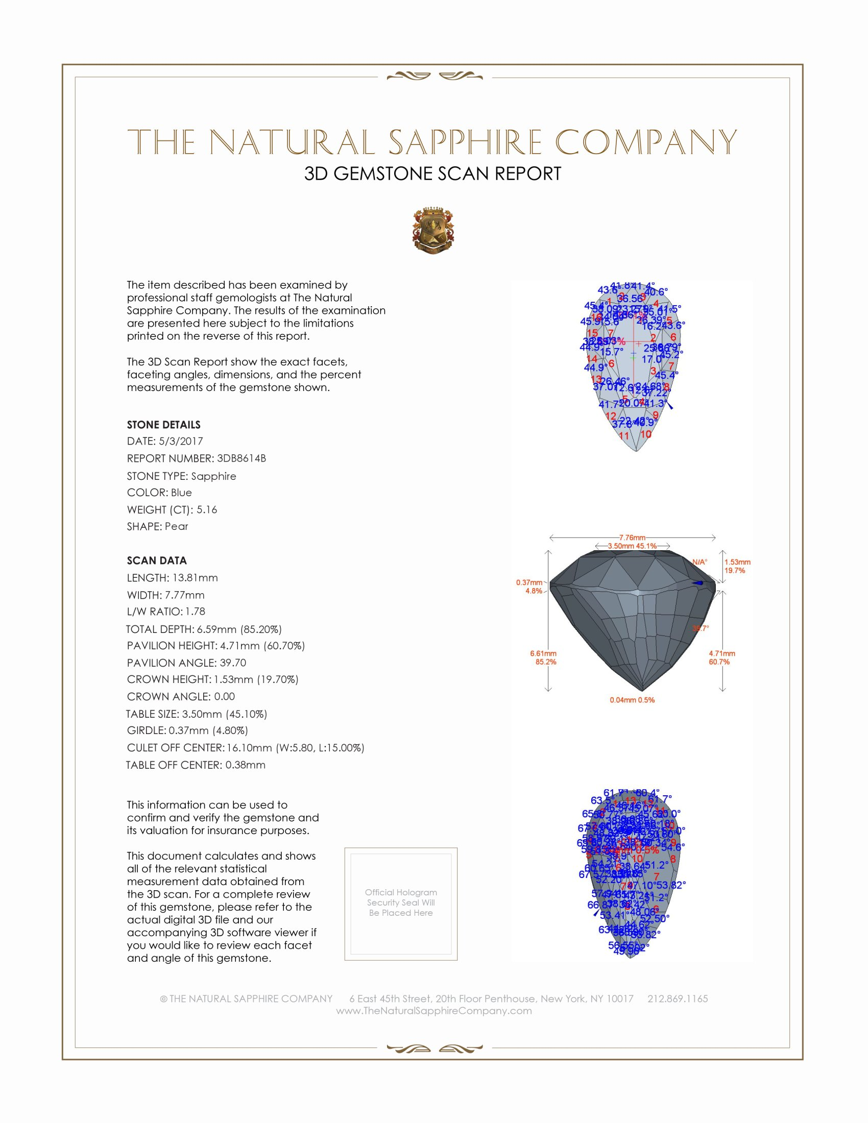 Natural Untreated Blue Sapphire B8614 Certification 2