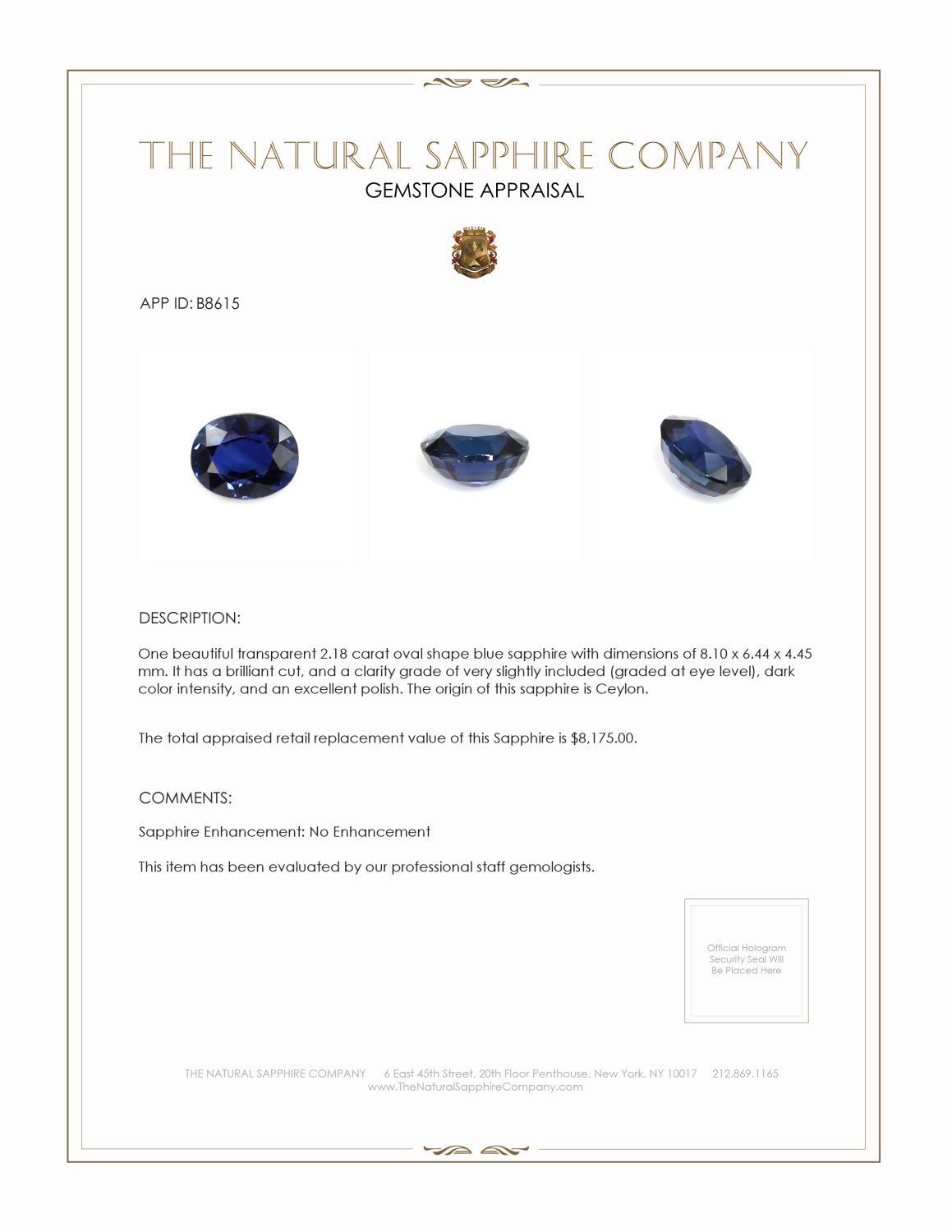 Natural Untreated Blue Sapphire B8615 Certification 4