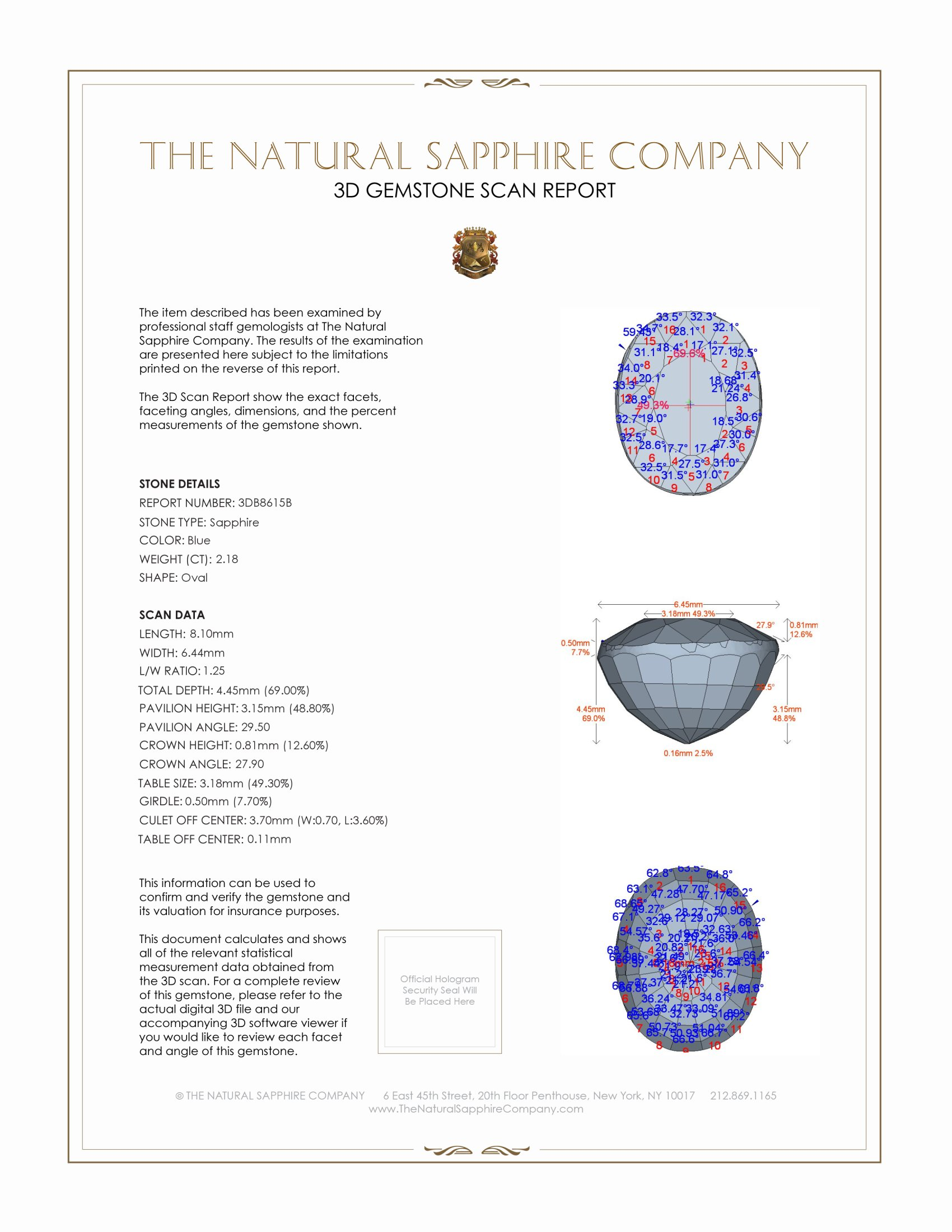 Natural Untreated Blue Sapphire B8615 Certification 2