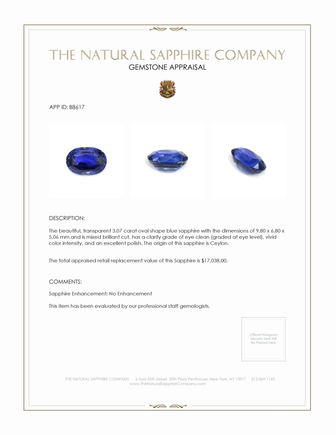 Natural Untreated Blue Sapphire B8617 Certification 4