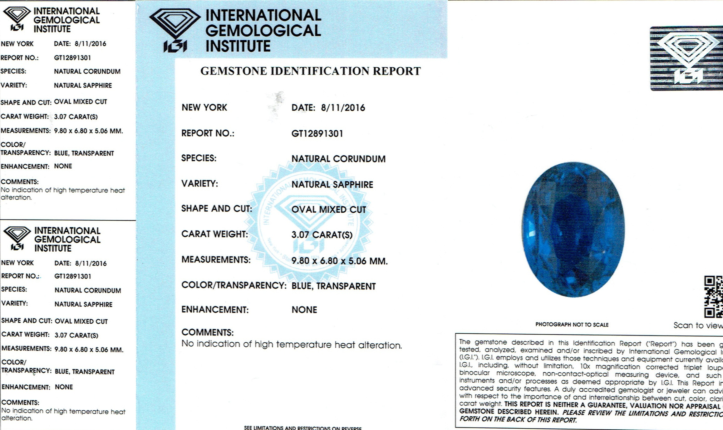 Natural Untreated Blue Sapphire B8617 Certification 3