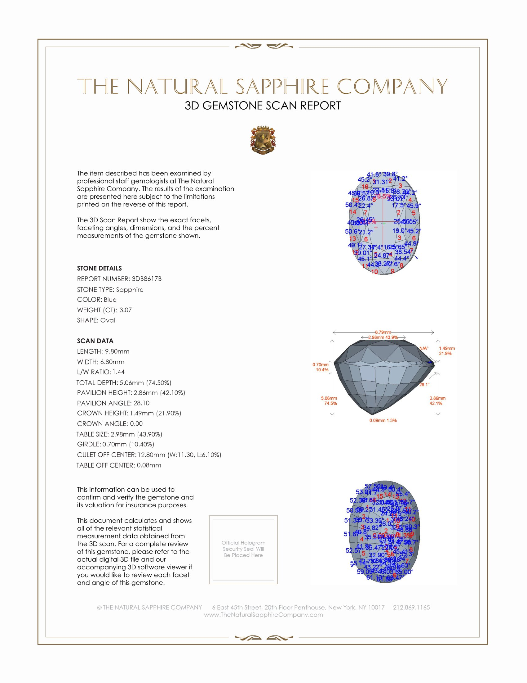 Natural Untreated Blue Sapphire B8617 Certification 2