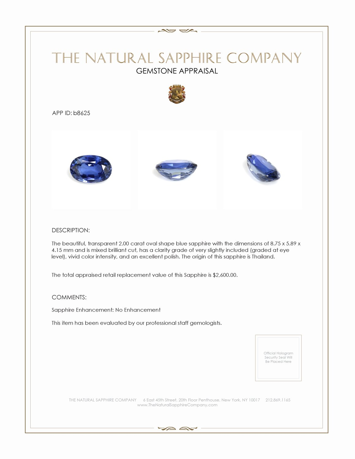Natural Untreated Blue Sapphire B8625 Certification 3