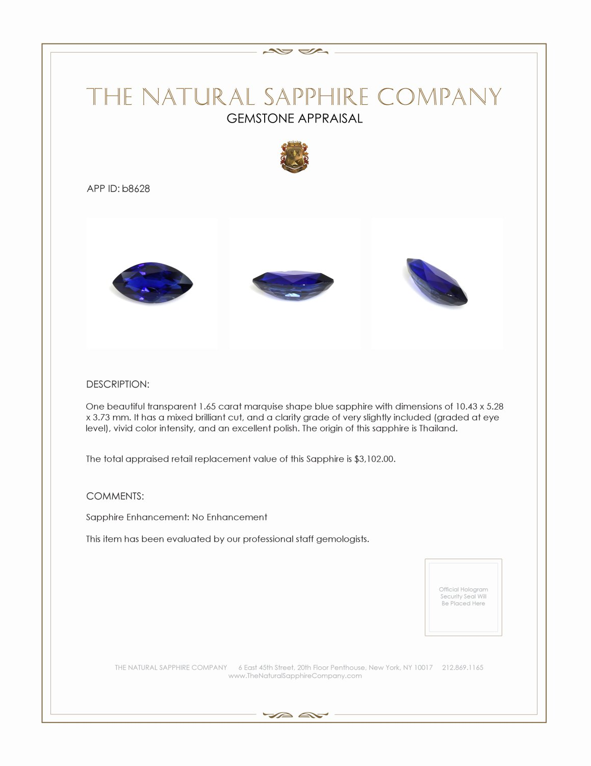 Natural Untreated Blue Sapphire B8628 Certification 3