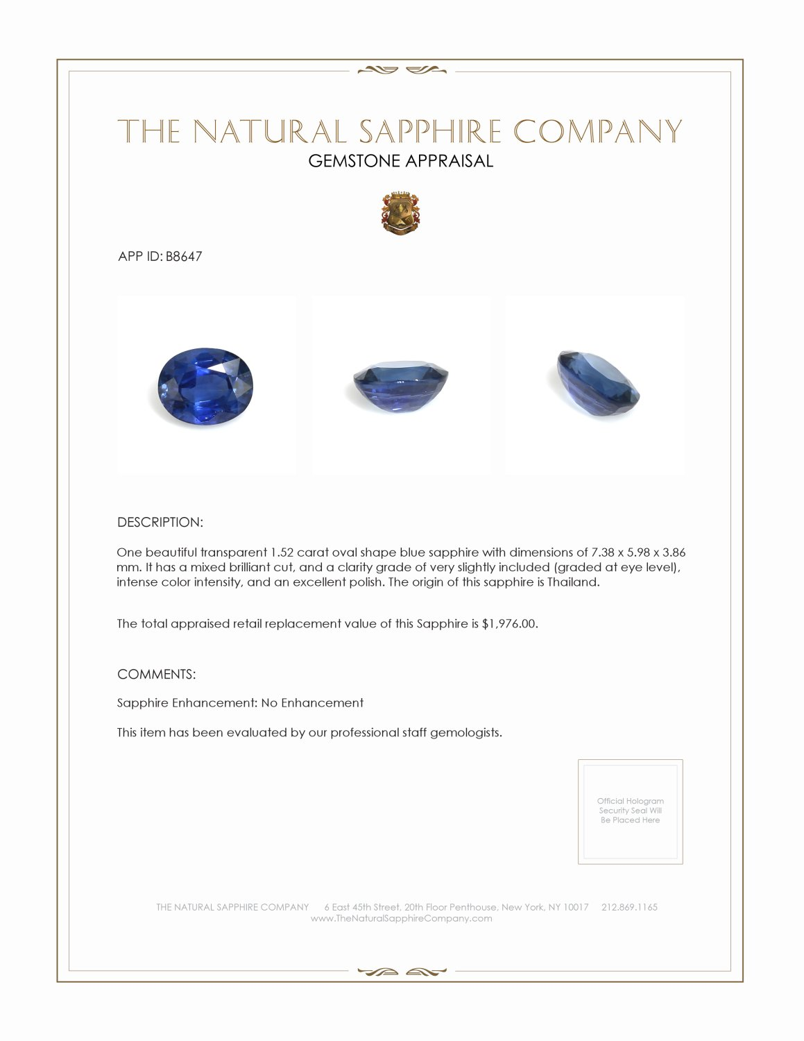 Natural Untreated Blue Sapphire B8647 Certification