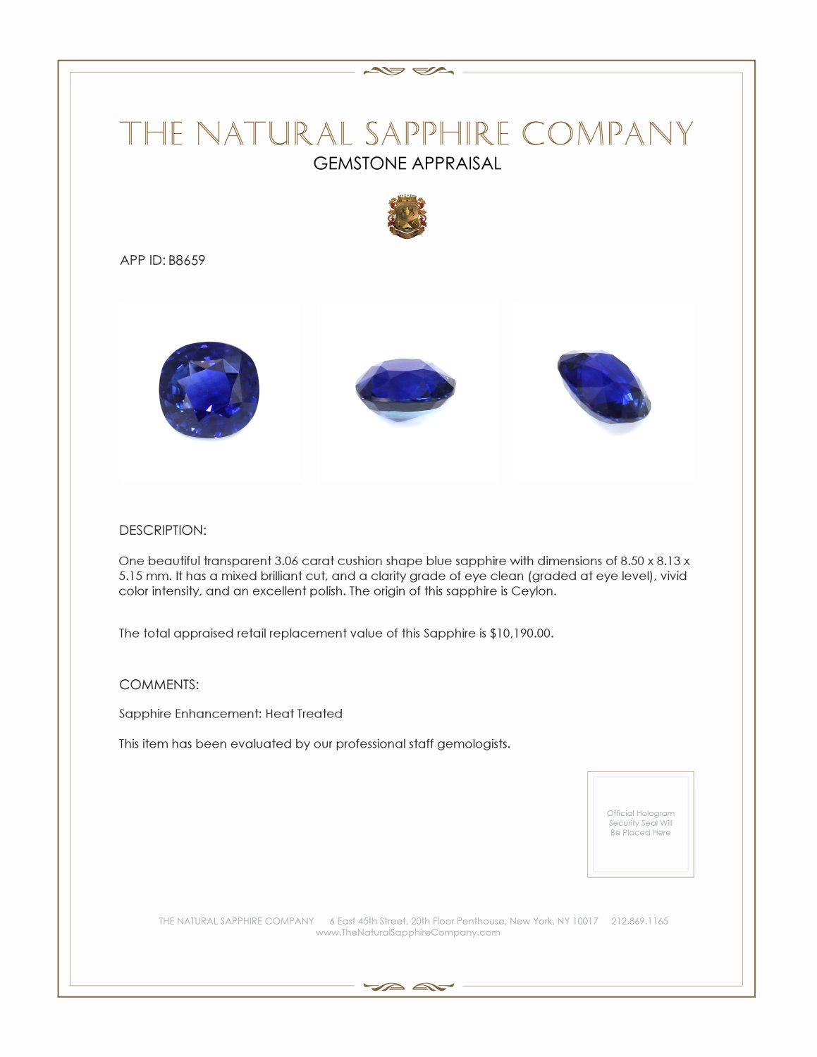 Natural Blue Sapphire B8659 Certification 3