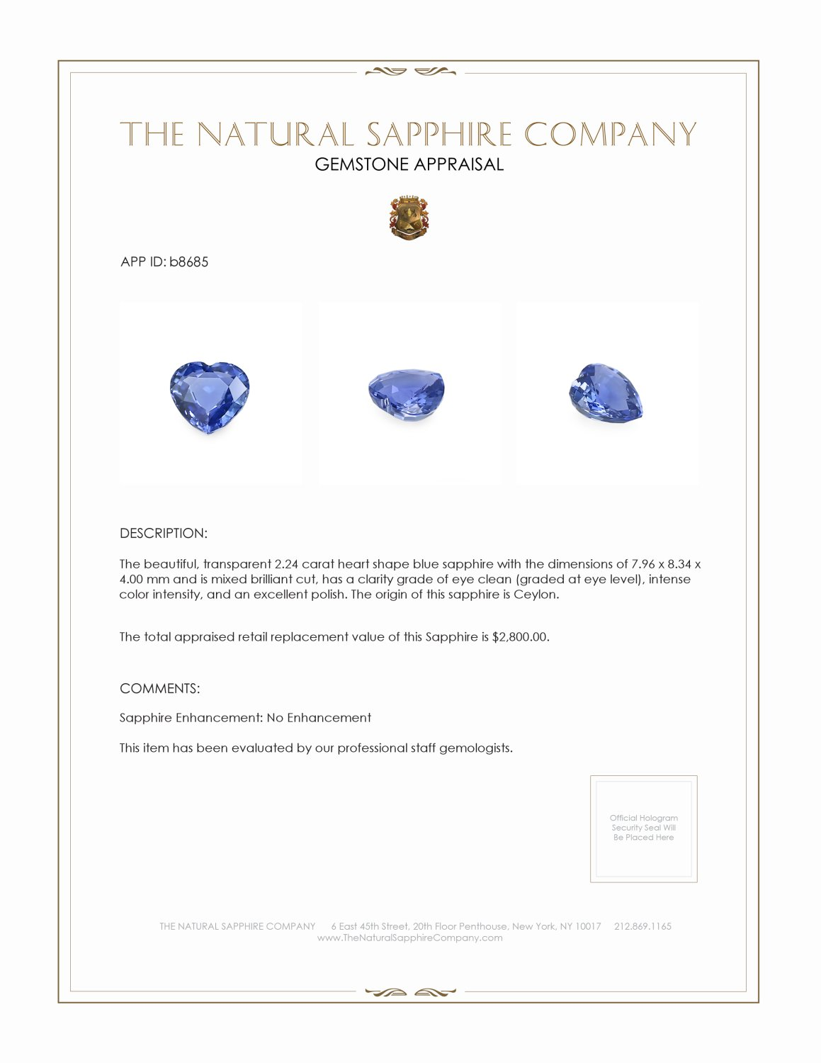 Natural Untreated Blue Sapphire B8685 Certification 4
