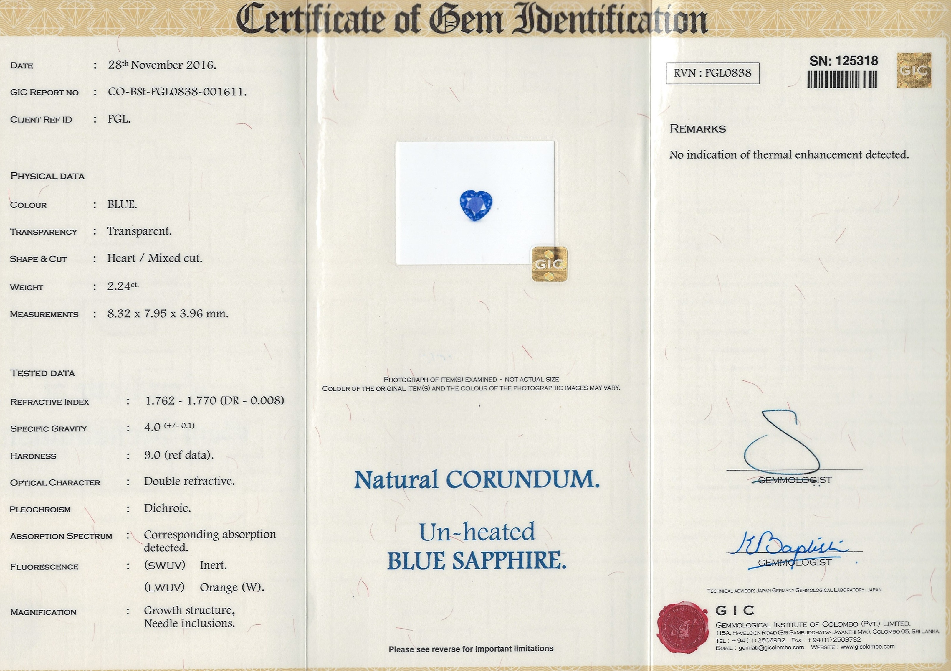 Natural Untreated Blue Sapphire B8685 Certification 3