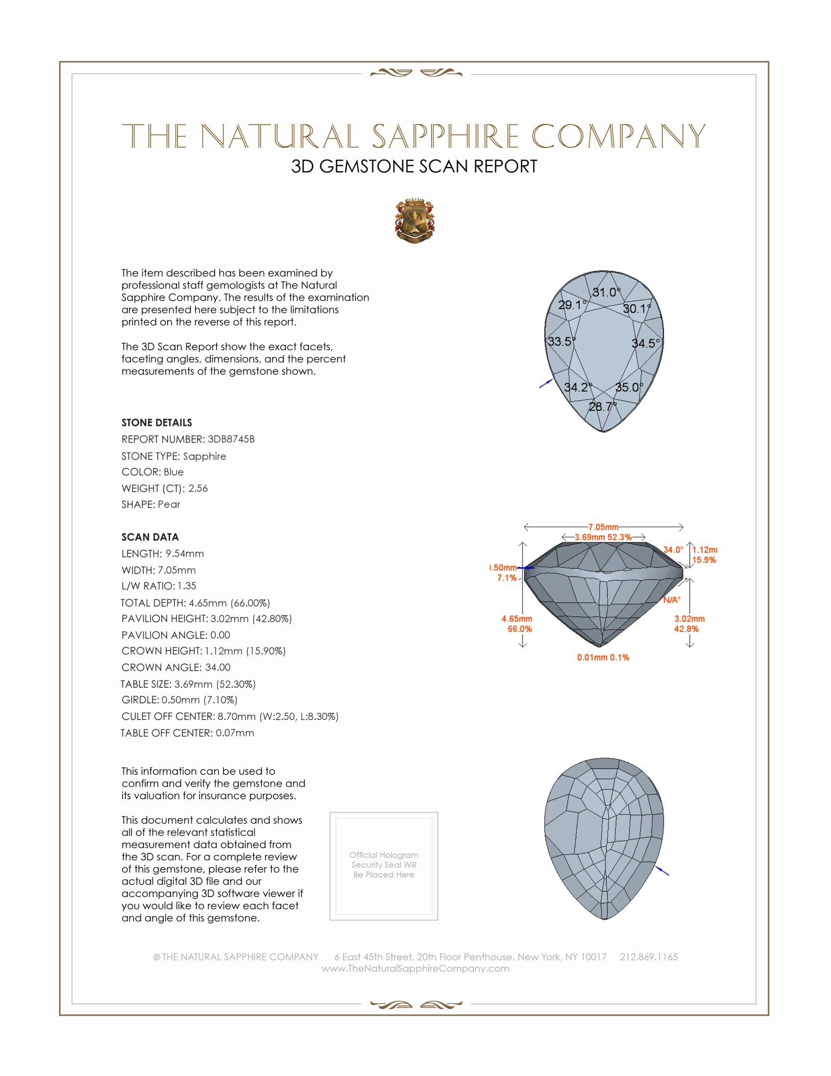 Natural Untreated Blue Sapphire B8745 Certification 2