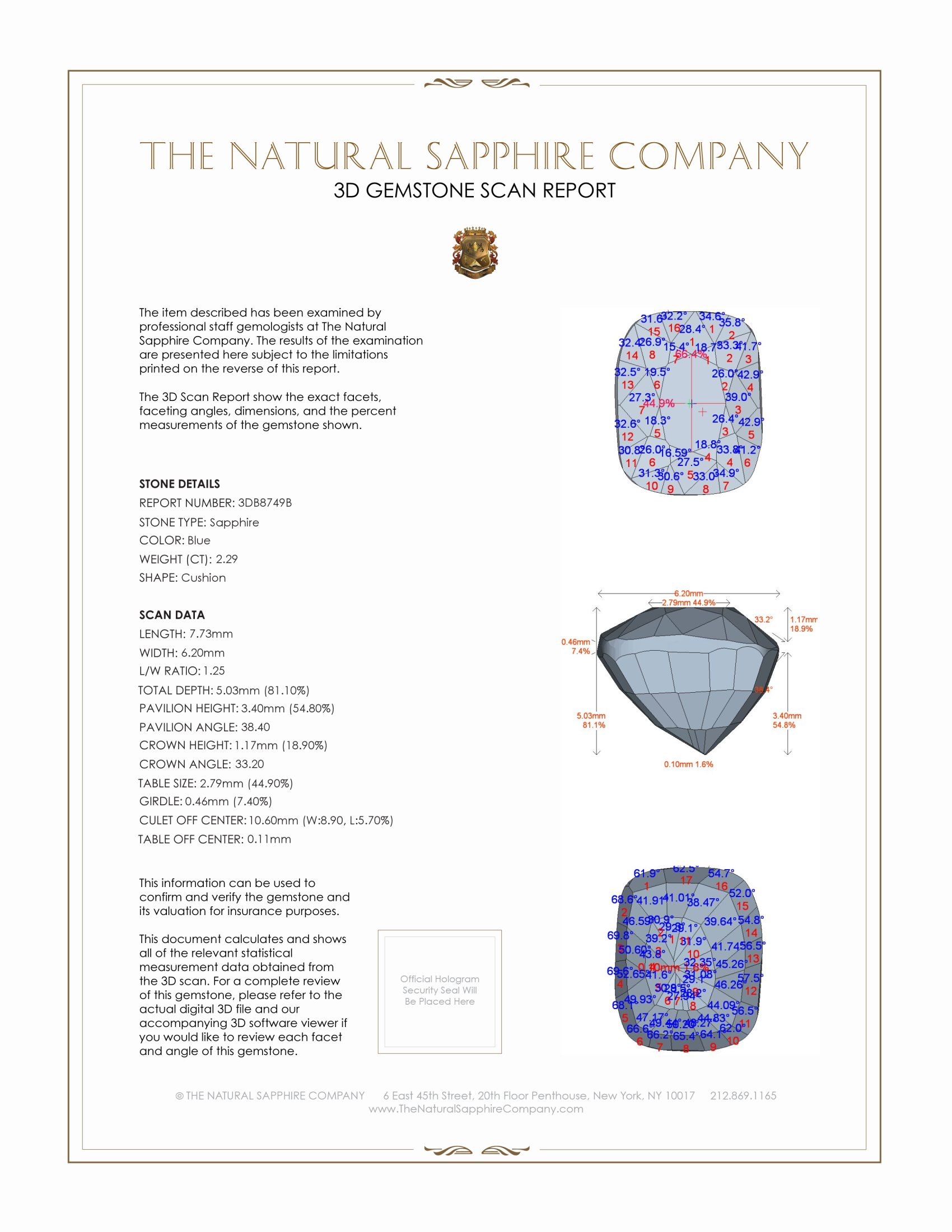 Natural Untreated Blue Sapphire B8749 Certification 2