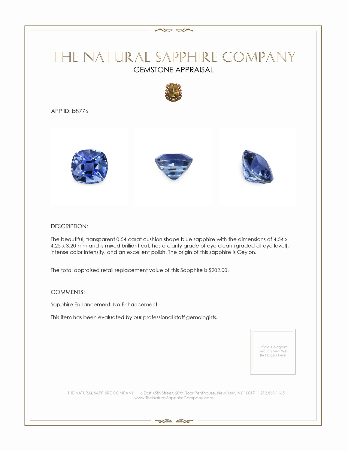 Natural Untreated Blue Sapphire B8776 Certification 3