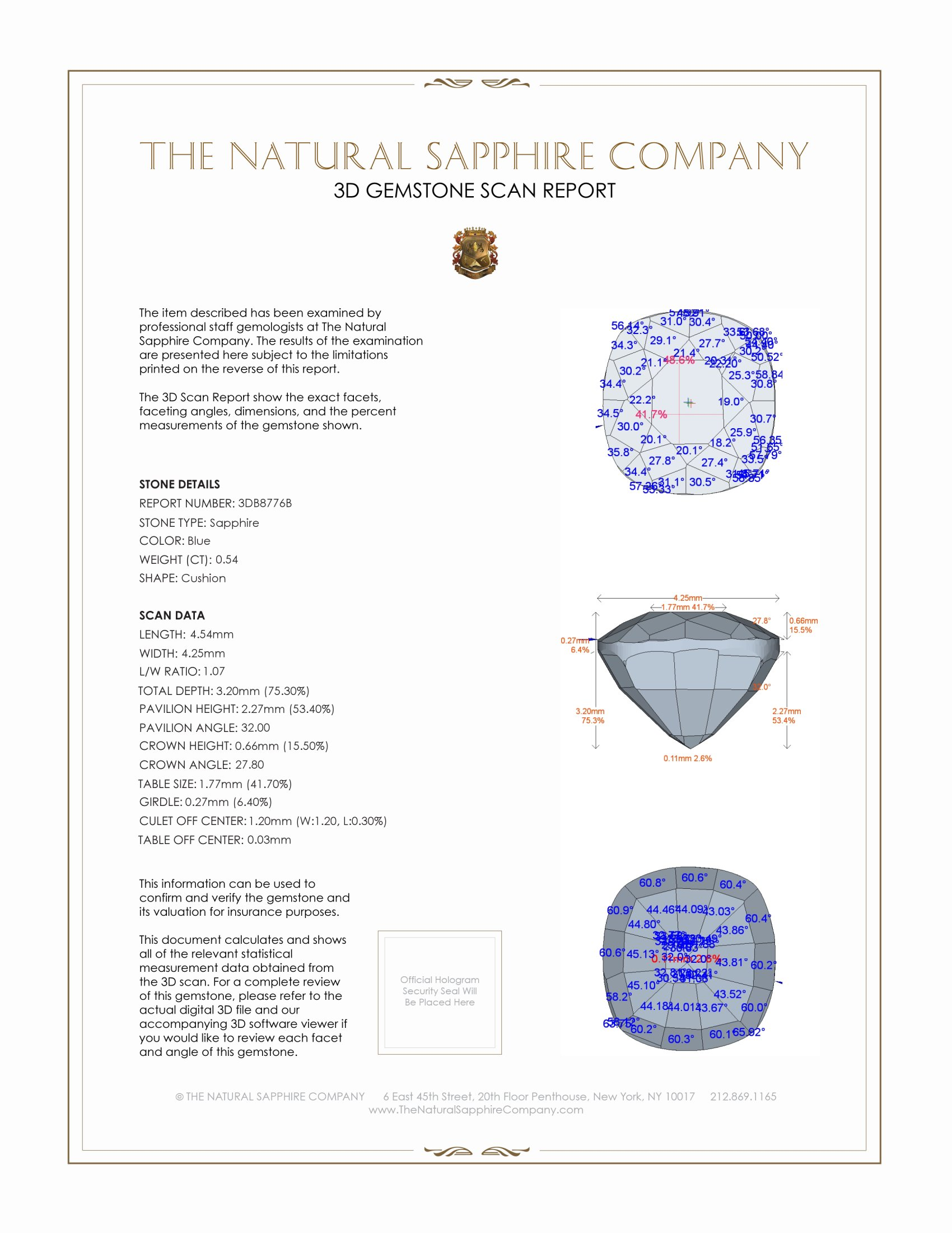 Natural Untreated Blue Sapphire B8776 Certification 2