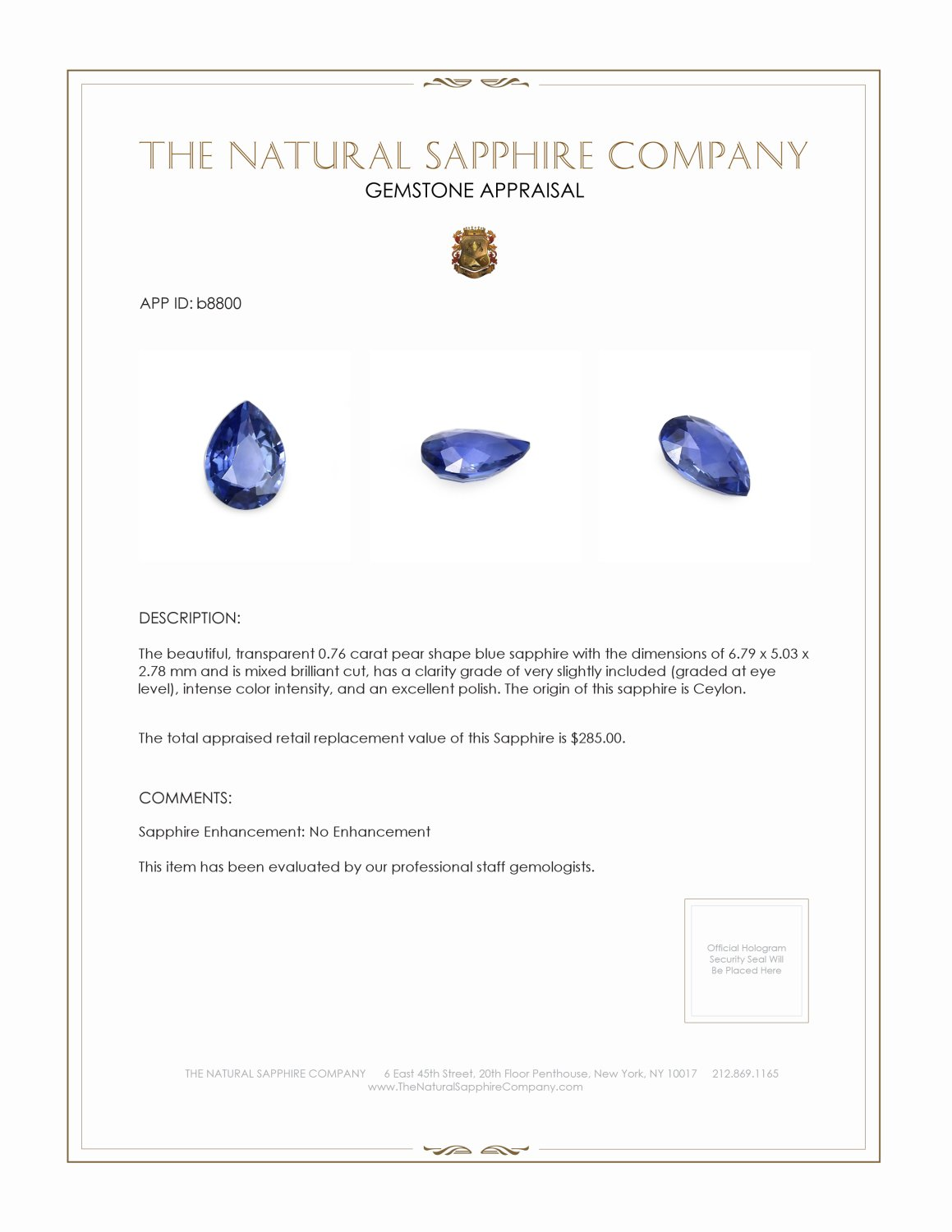Natural Untreated Blue Sapphire B8800 Certification 3