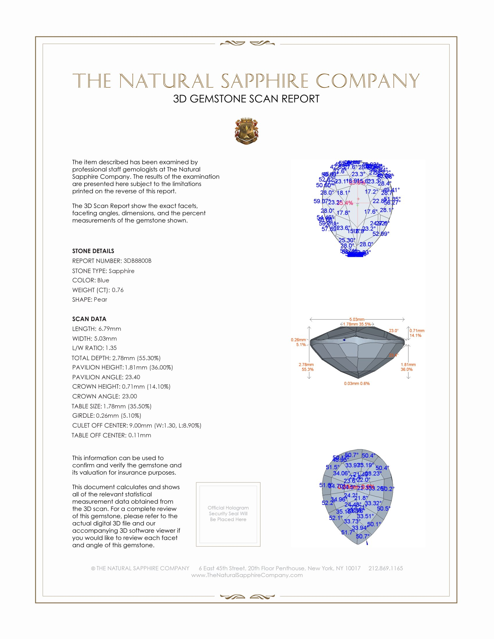 Natural Untreated Blue Sapphire B8800 Certification 2