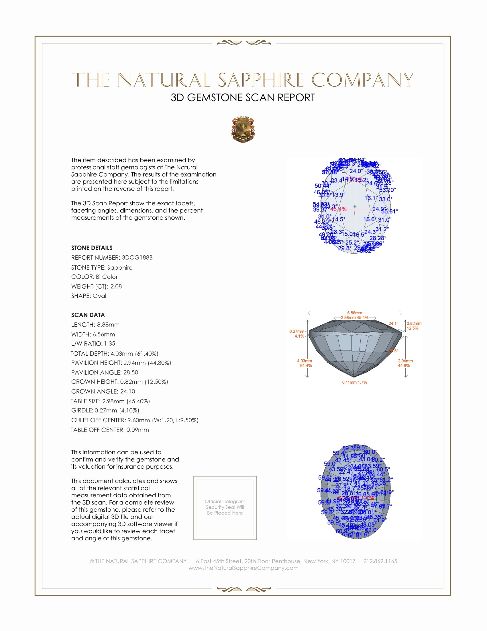 Natural Untreated Bi Color Sapphire CG188 Certification 2