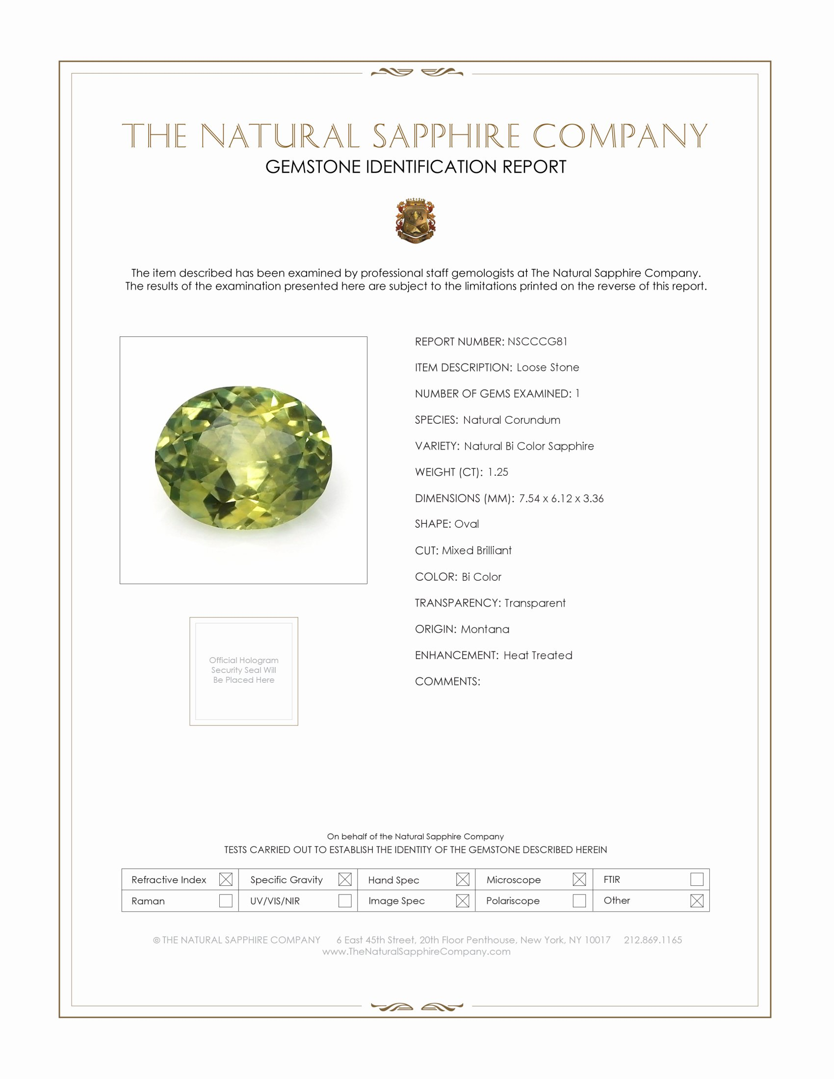 Natural Bi Color Sapphire CG81 Certification
