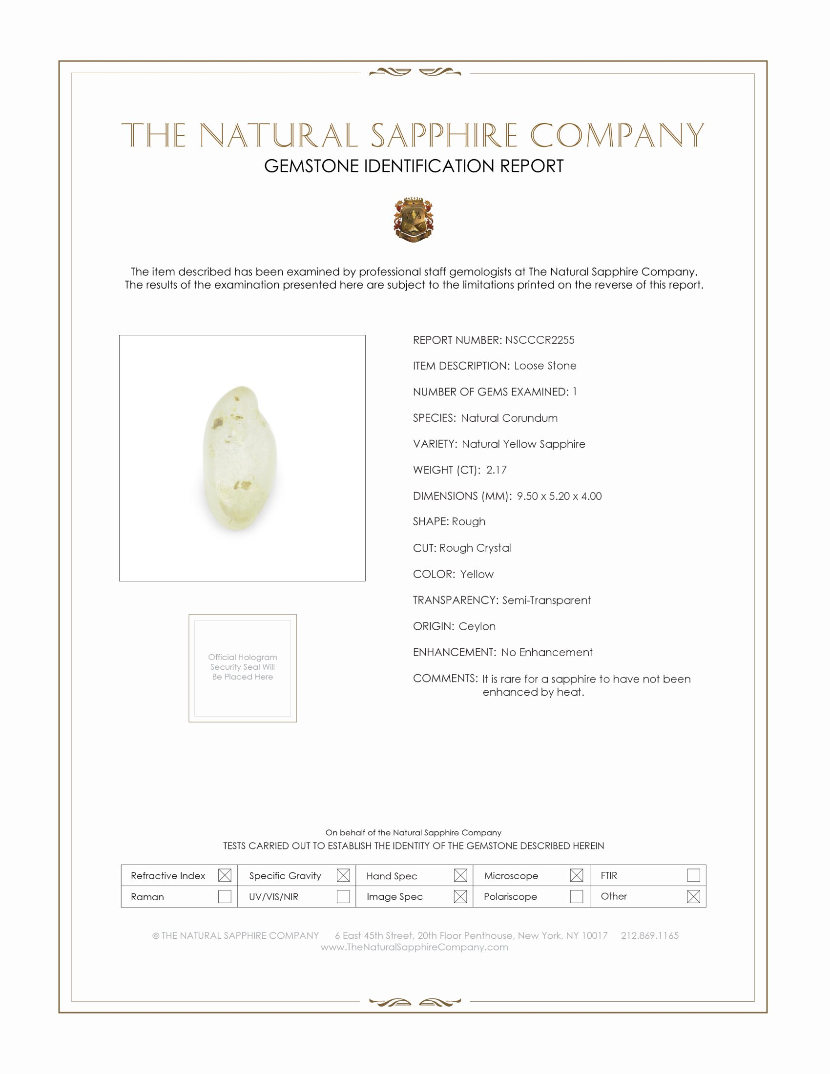 Natural Untreated Crystal Sapphire CR2255 Certification
