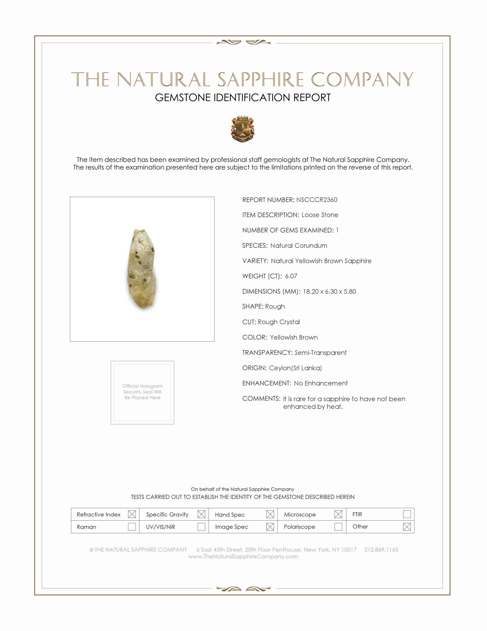 Natural Untreated Crystal Sapphire CR2360 Certification