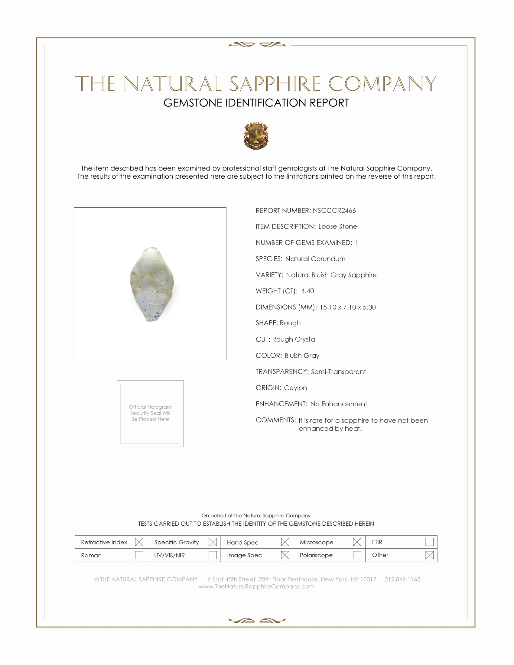 Natural Untreated Crystal Sapphire CR2466 Certification