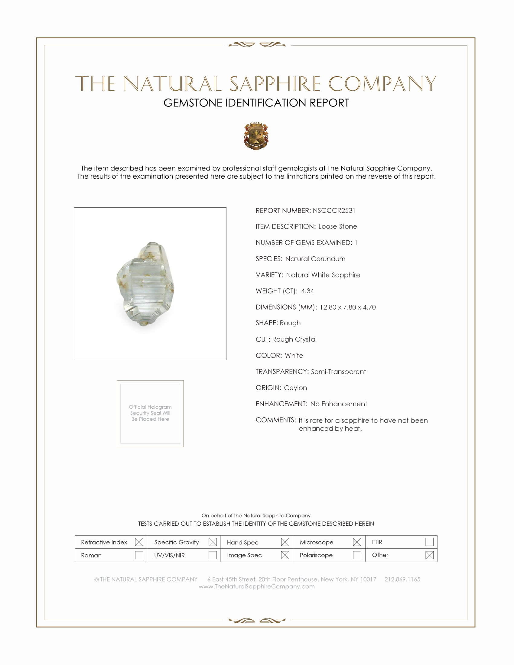 Natural Untreated Crystal Sapphire CR2531 Certification