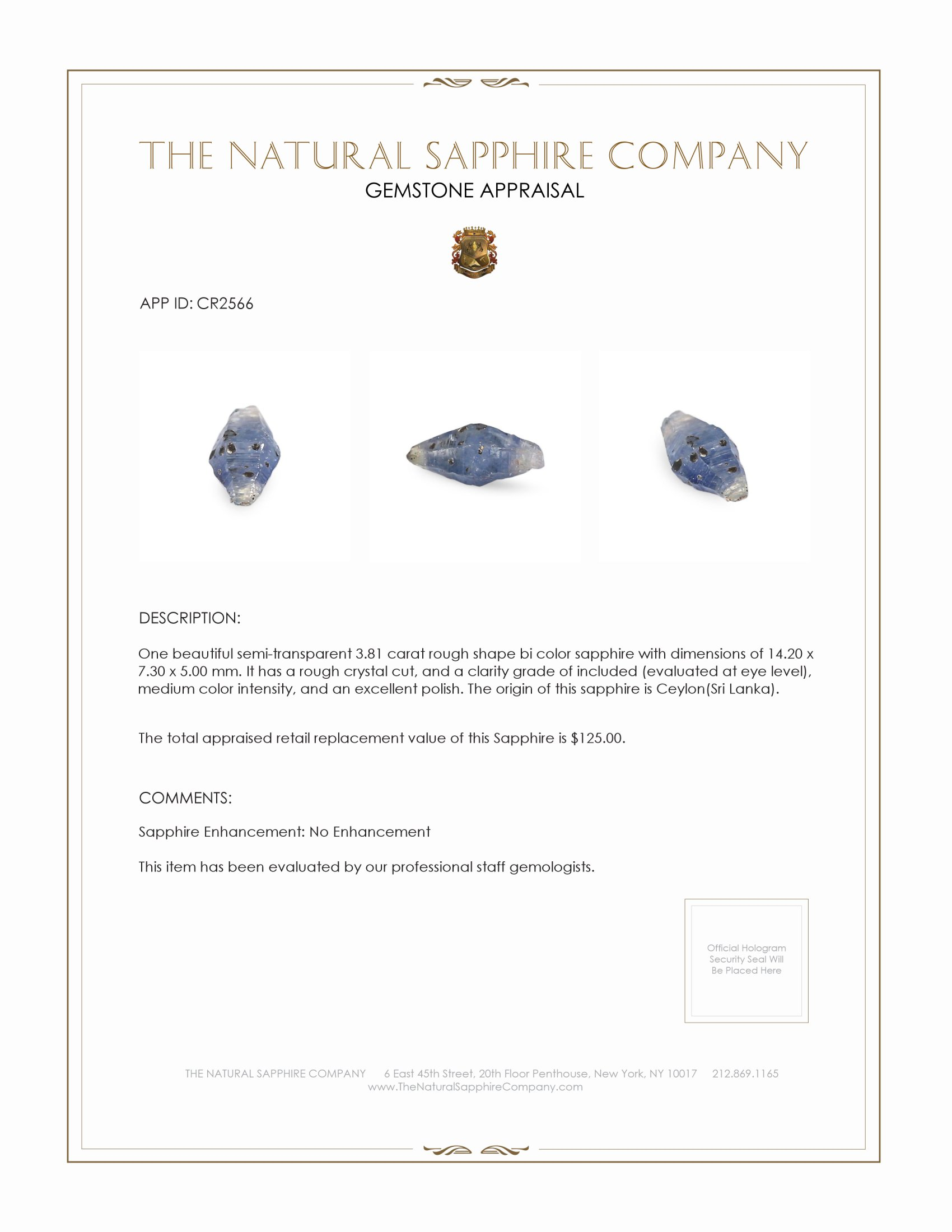 Natural Untreated Crystal Sapphire CR2566 Certification 2