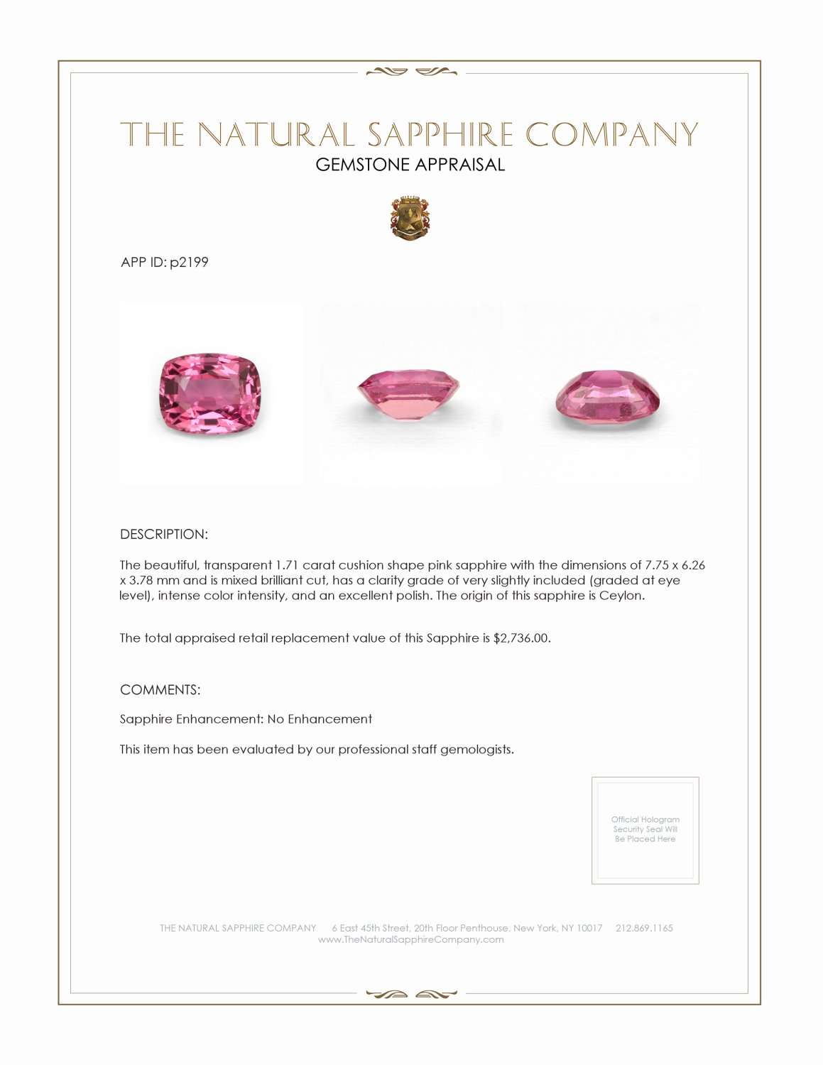 Natural Untreated Pink Sapphire P2199 Certification 3