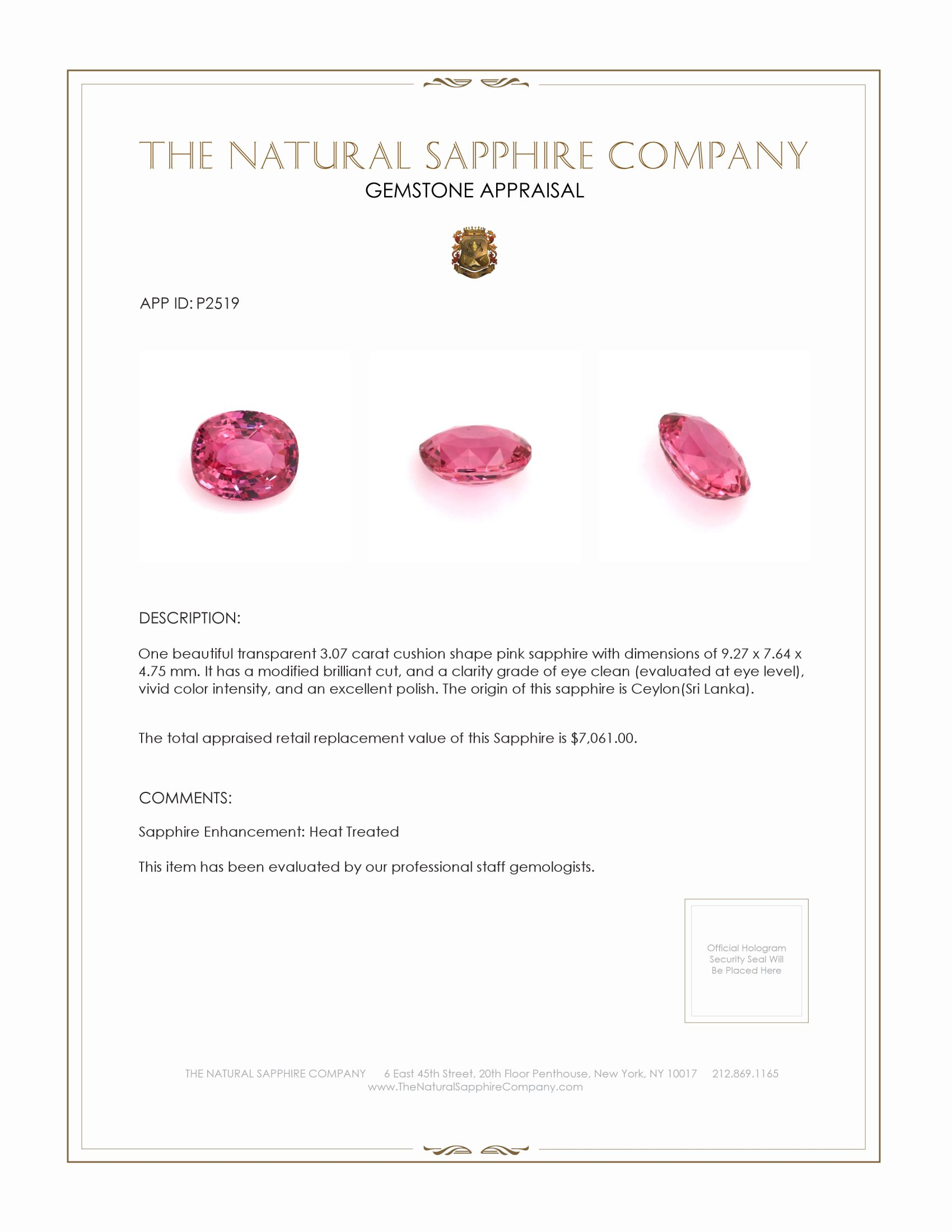Natural Pink Sapphire P2519 Certification 4