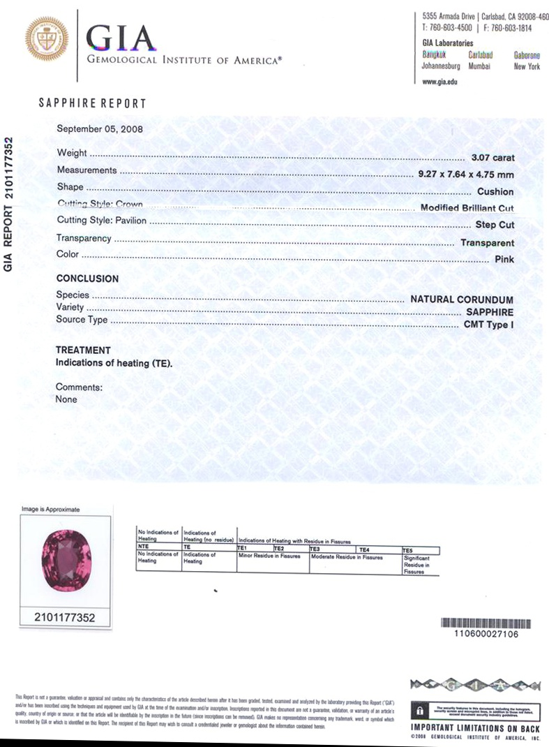 Natural Pink Sapphire P2519 Certification 3