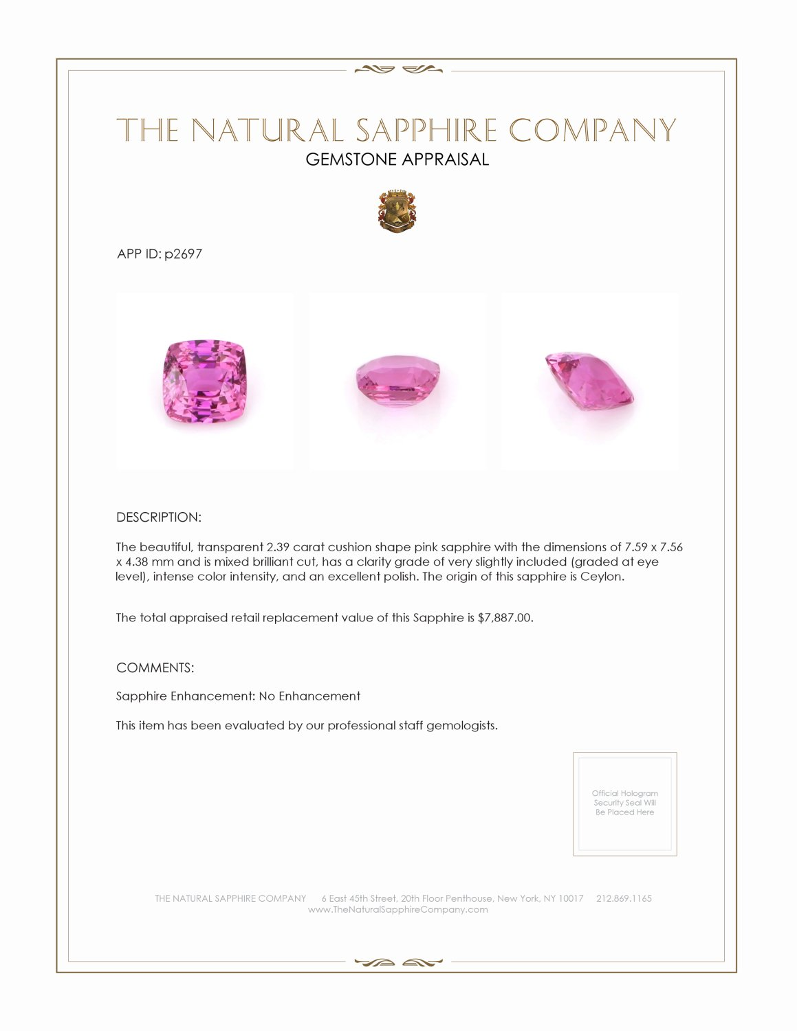 Natural Untreated Pink Sapphire P2697 Certification 3