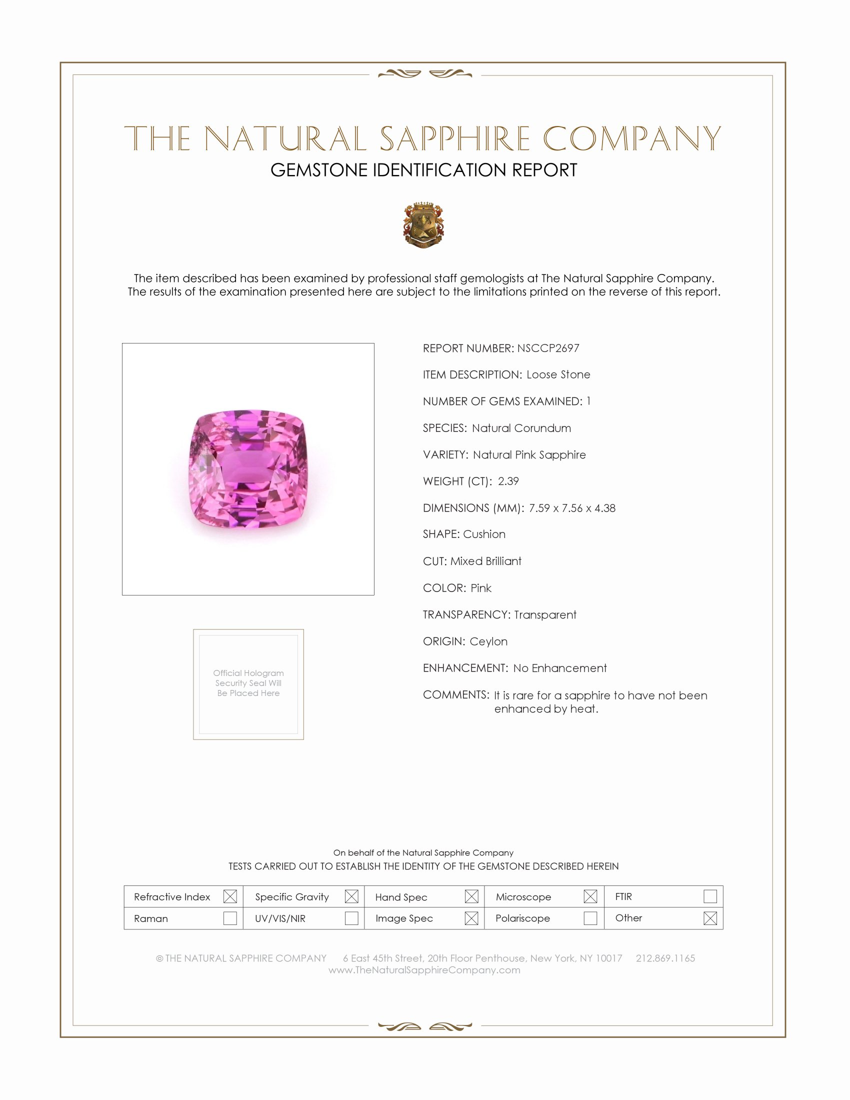 Natural Untreated Pink Sapphire P2697 Certification