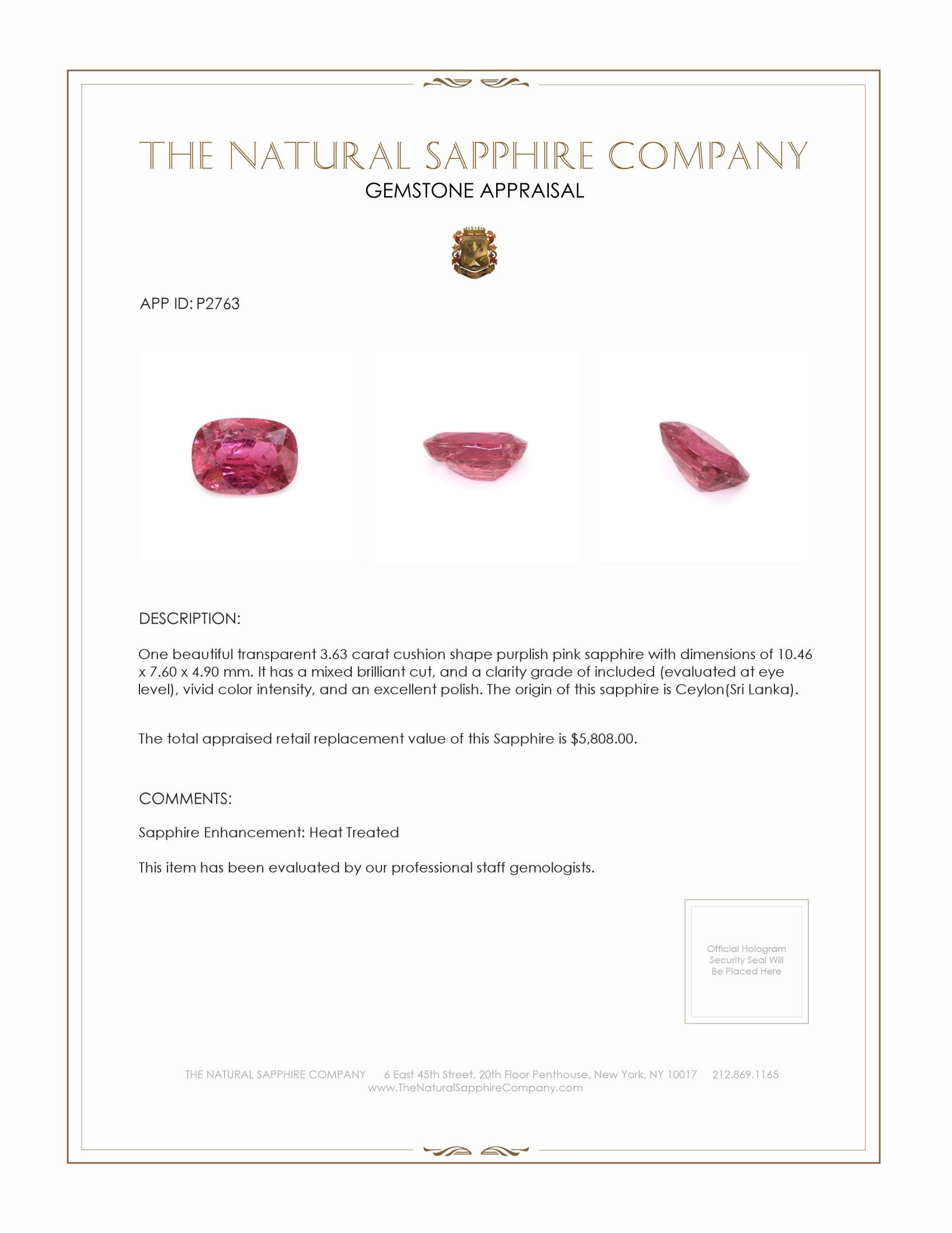 Natural Pink Sapphire P2763 Certification 4