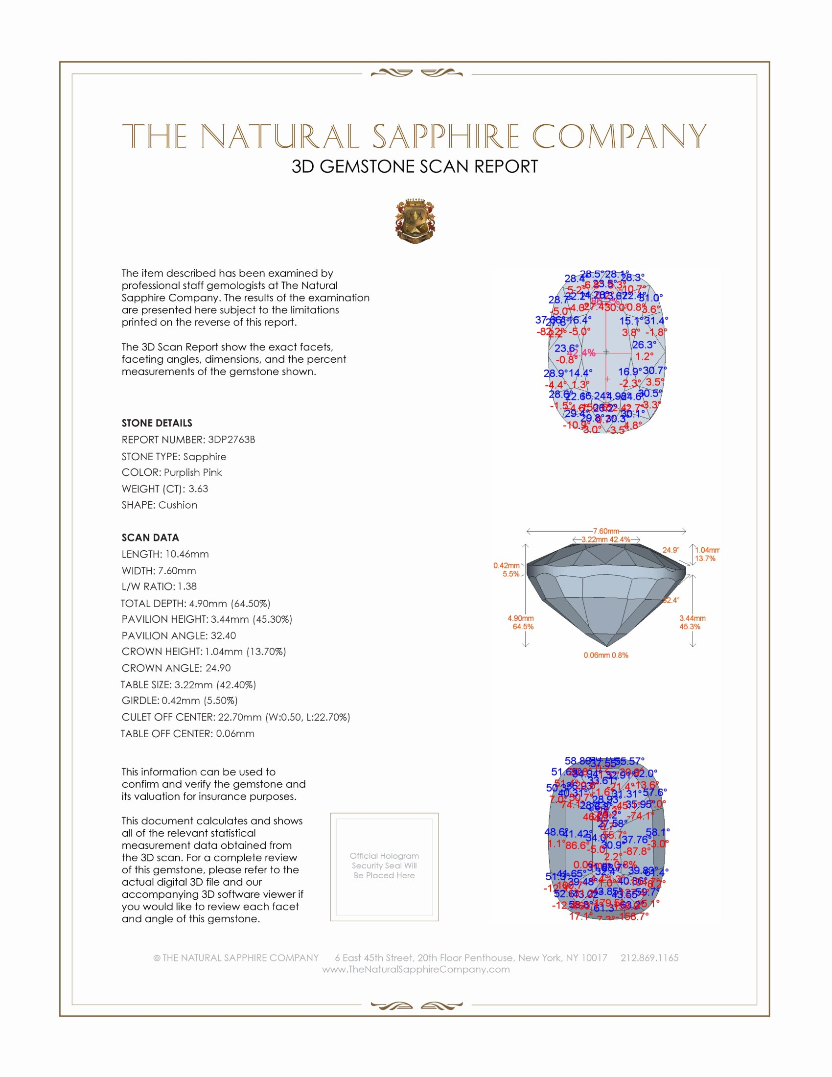 Natural Pink Sapphire P2763 Certification 2