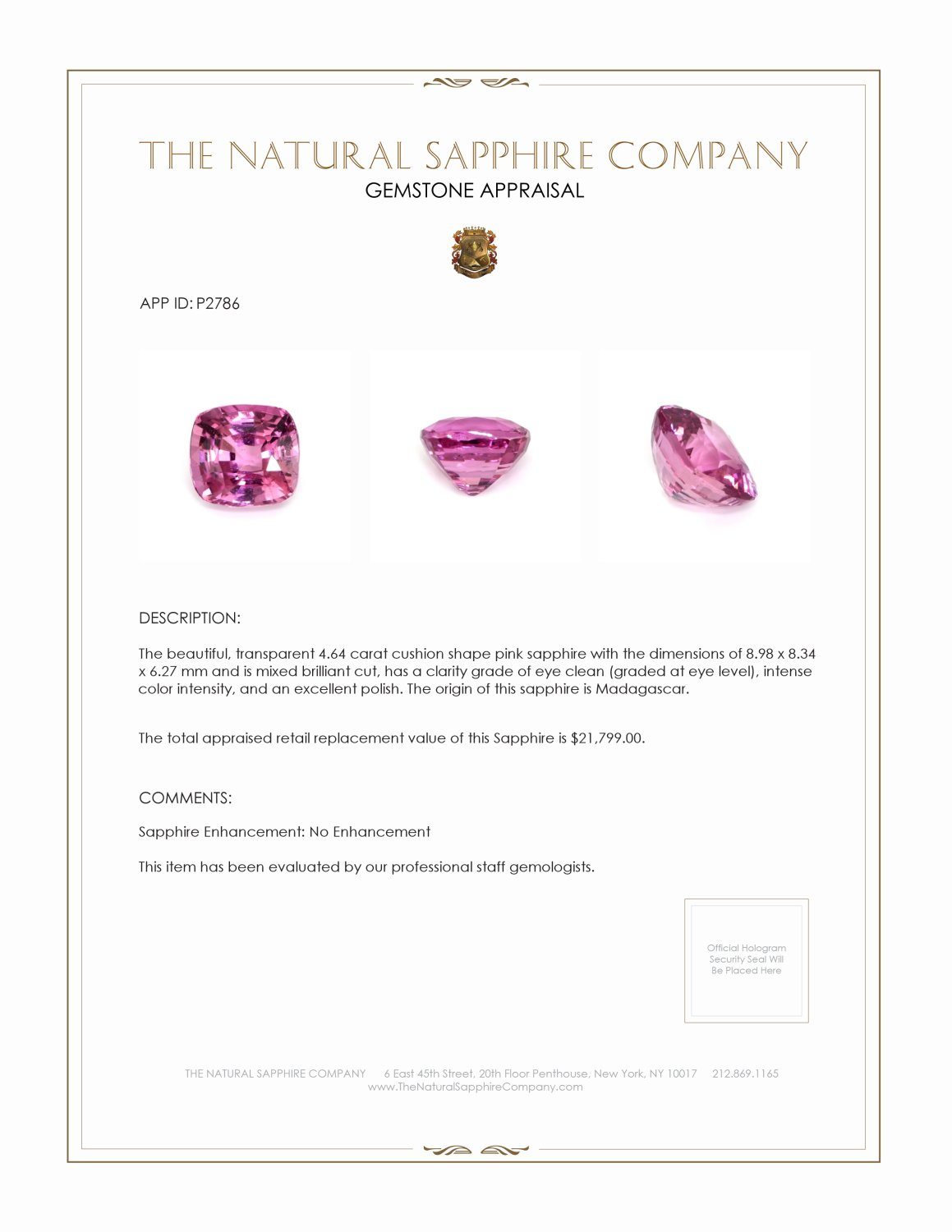 Natural Untreated Pink Sapphire P2786 Certification 4