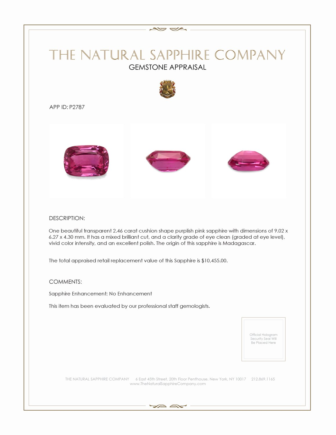 Natural Untreated Pink Sapphire P2787 Certification 4