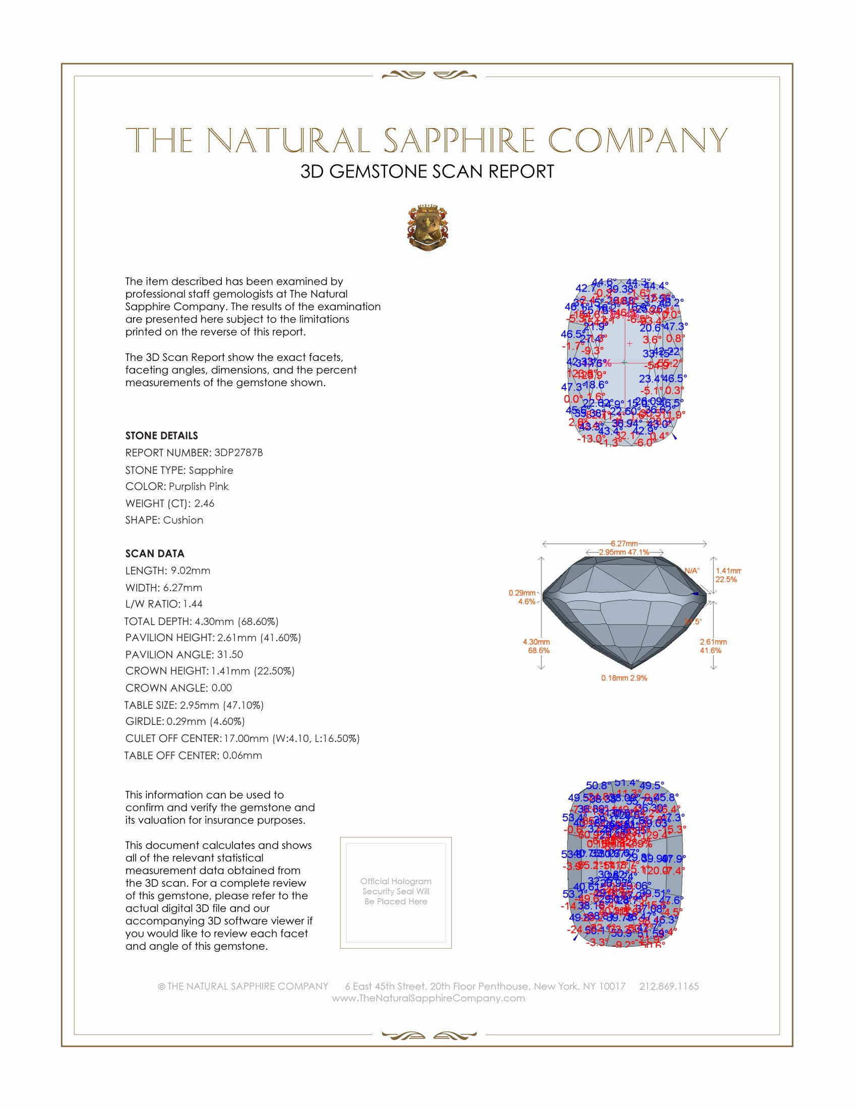 Natural Untreated Pink Sapphire P2787 Certification 2